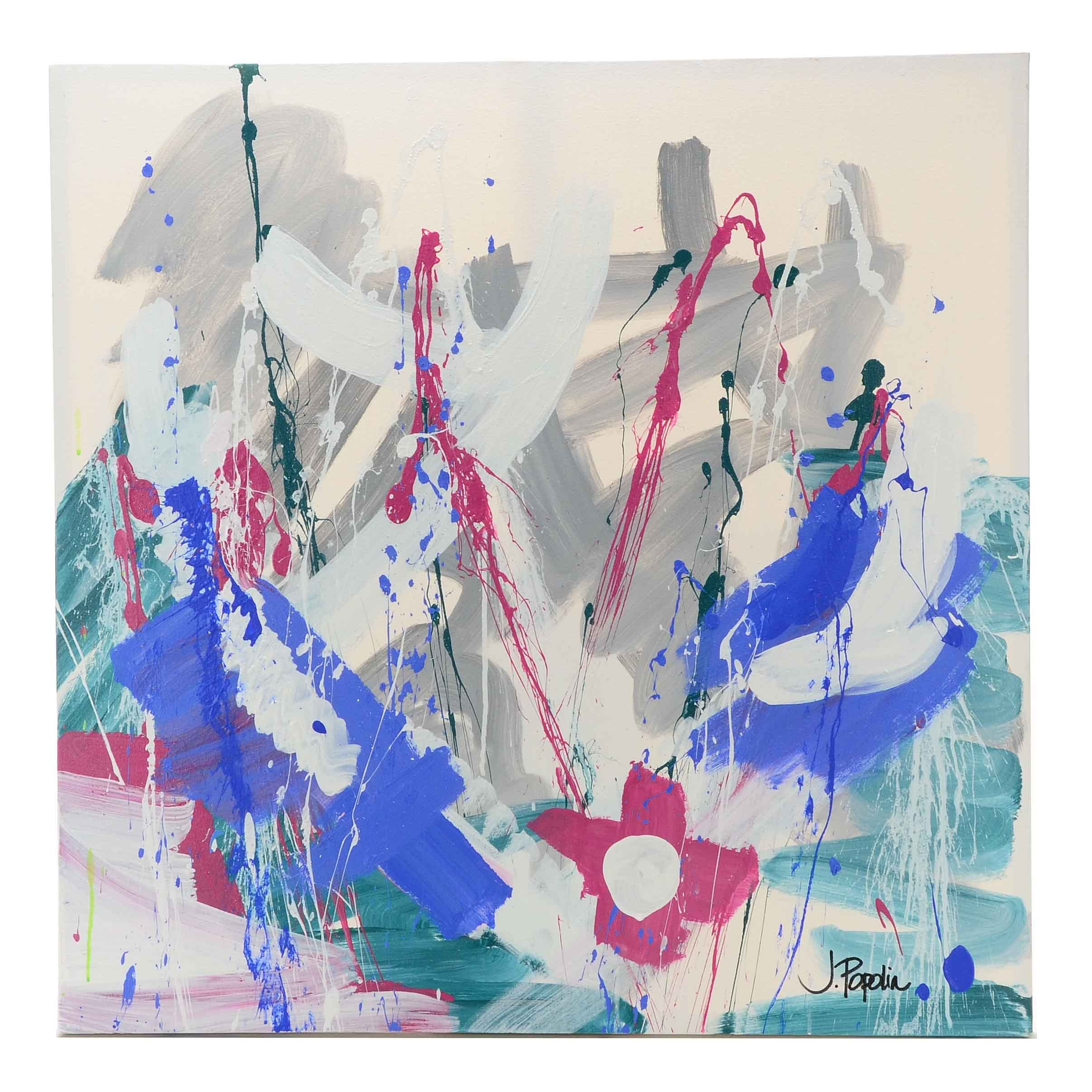 "J. Popolin Acrylic on Canvas ""Gray Blue Red Cross"""