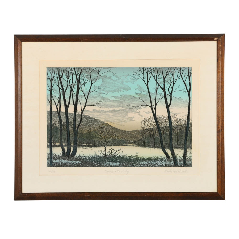"""Charles Roy Purcell Limited Edition Etching """"Downsville Valley"""""""