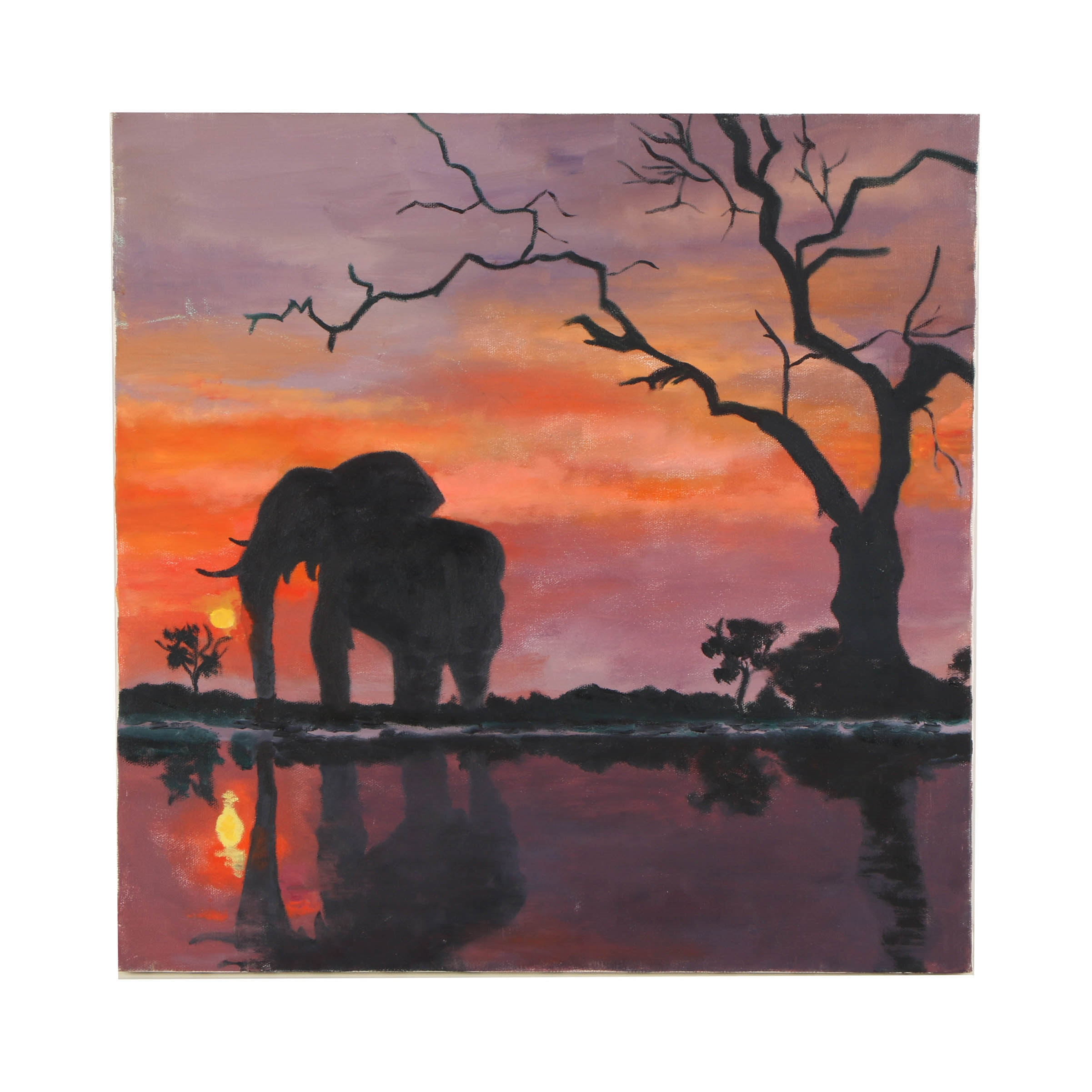 Wendy Lax Oil Painting on Canvas of a Silhouetted Elephant