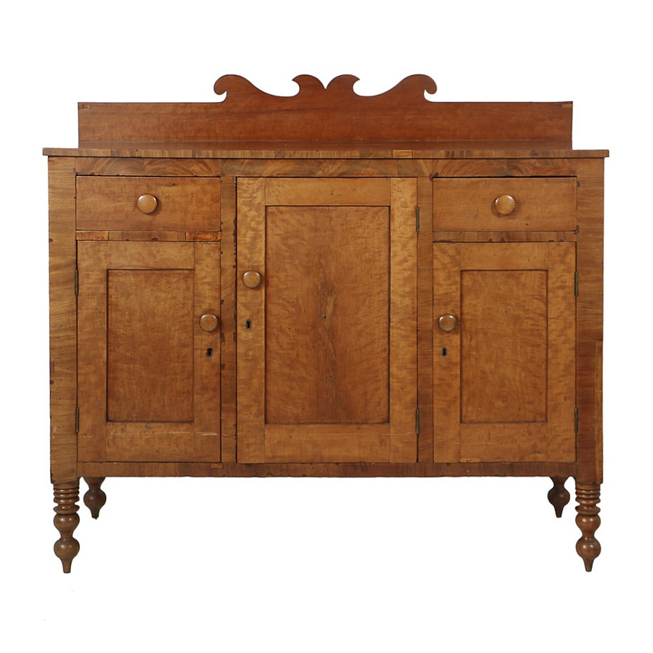 Antique Country Sheraton Cherry and Mahogany Sideboard, Circa Early 19th Century