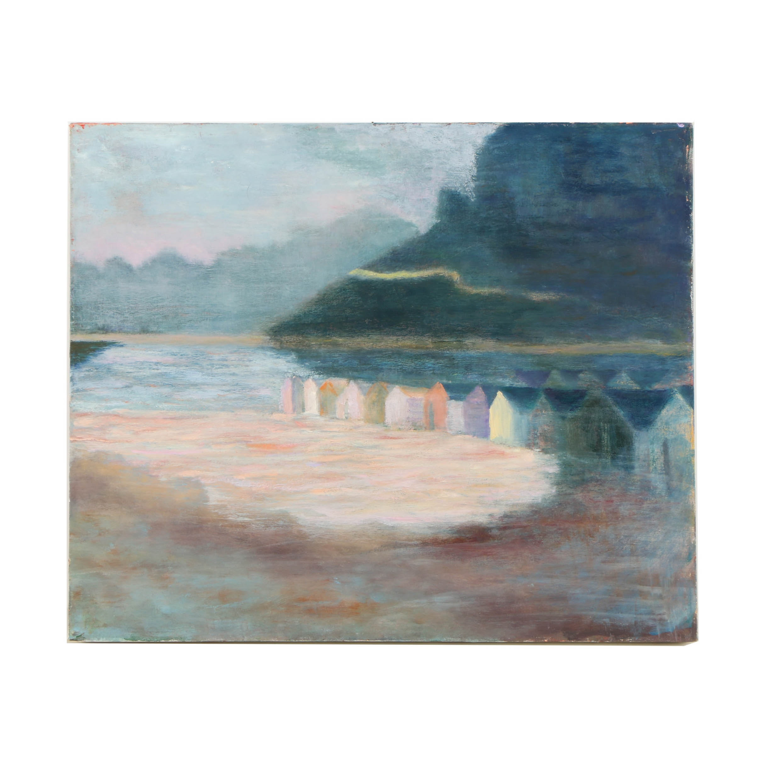 Wendy Lax Oil Painting on Canvas of Wooden Beach Huts