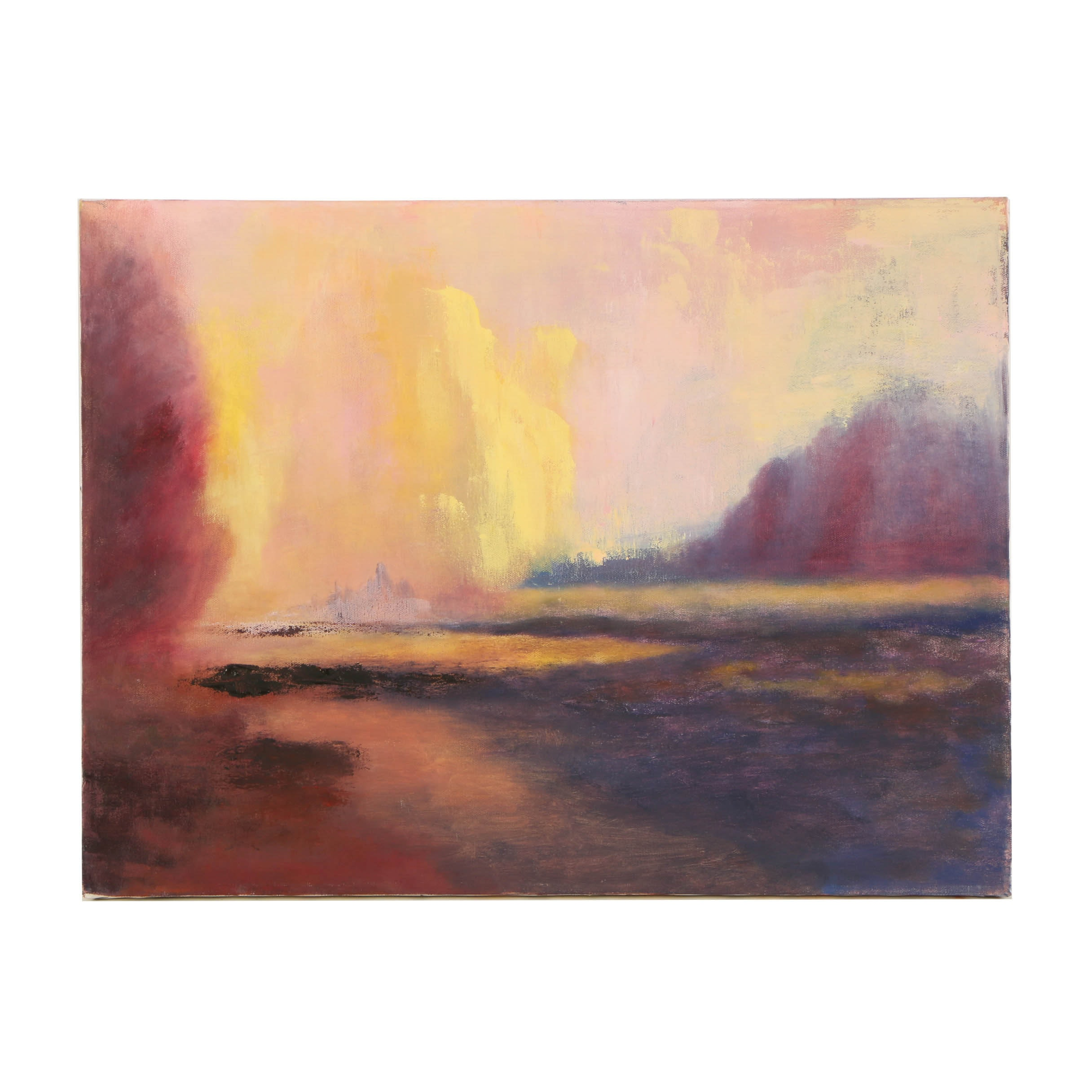 Wendy Lax Oil Painting on Canvas of an Abstract Landscape