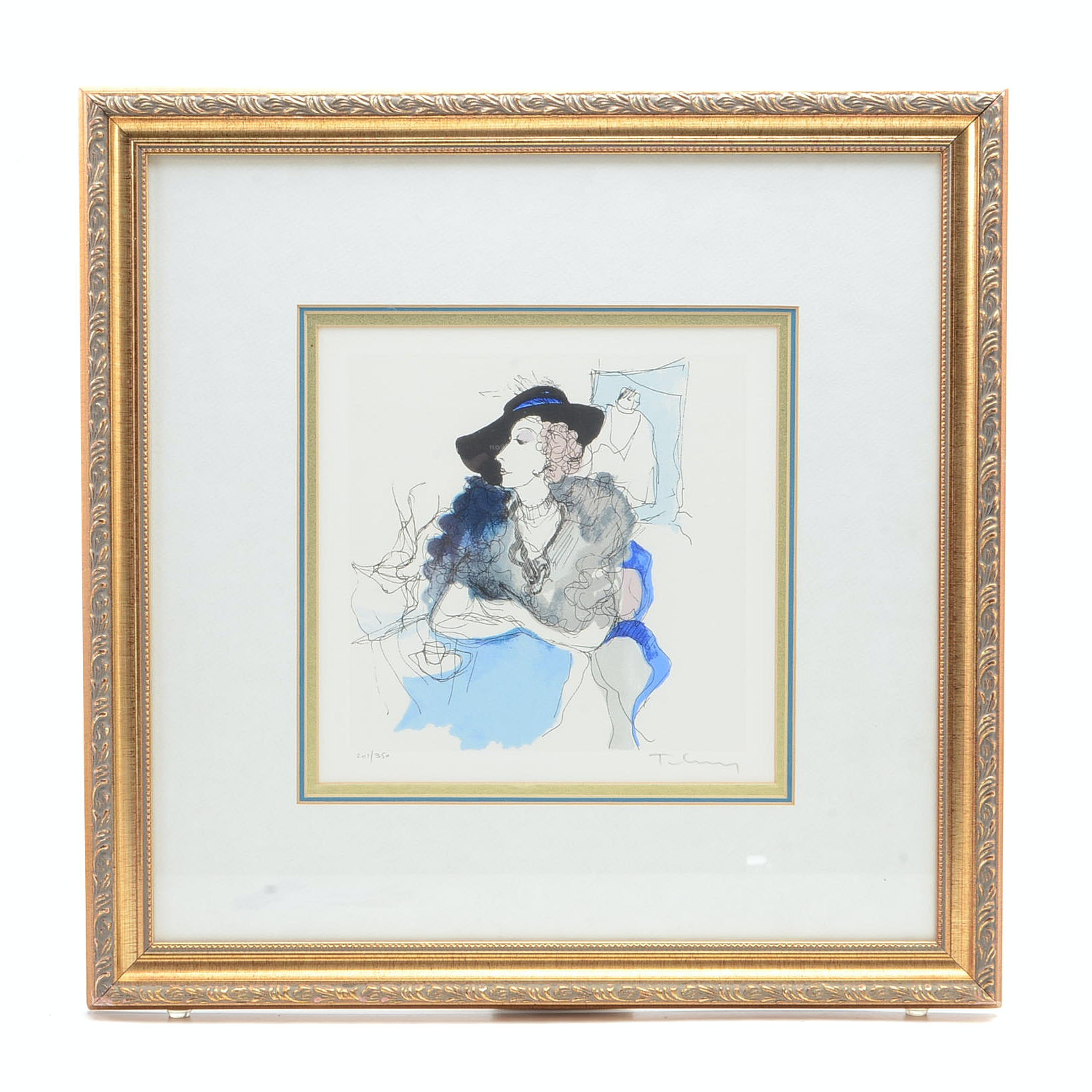 Itzchak Tarkay Signed Limited Edition Lithograph of Woman at Cafe Table