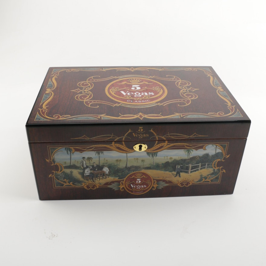 5 Vegas Classic Cigar Humidor With Key : EBTH