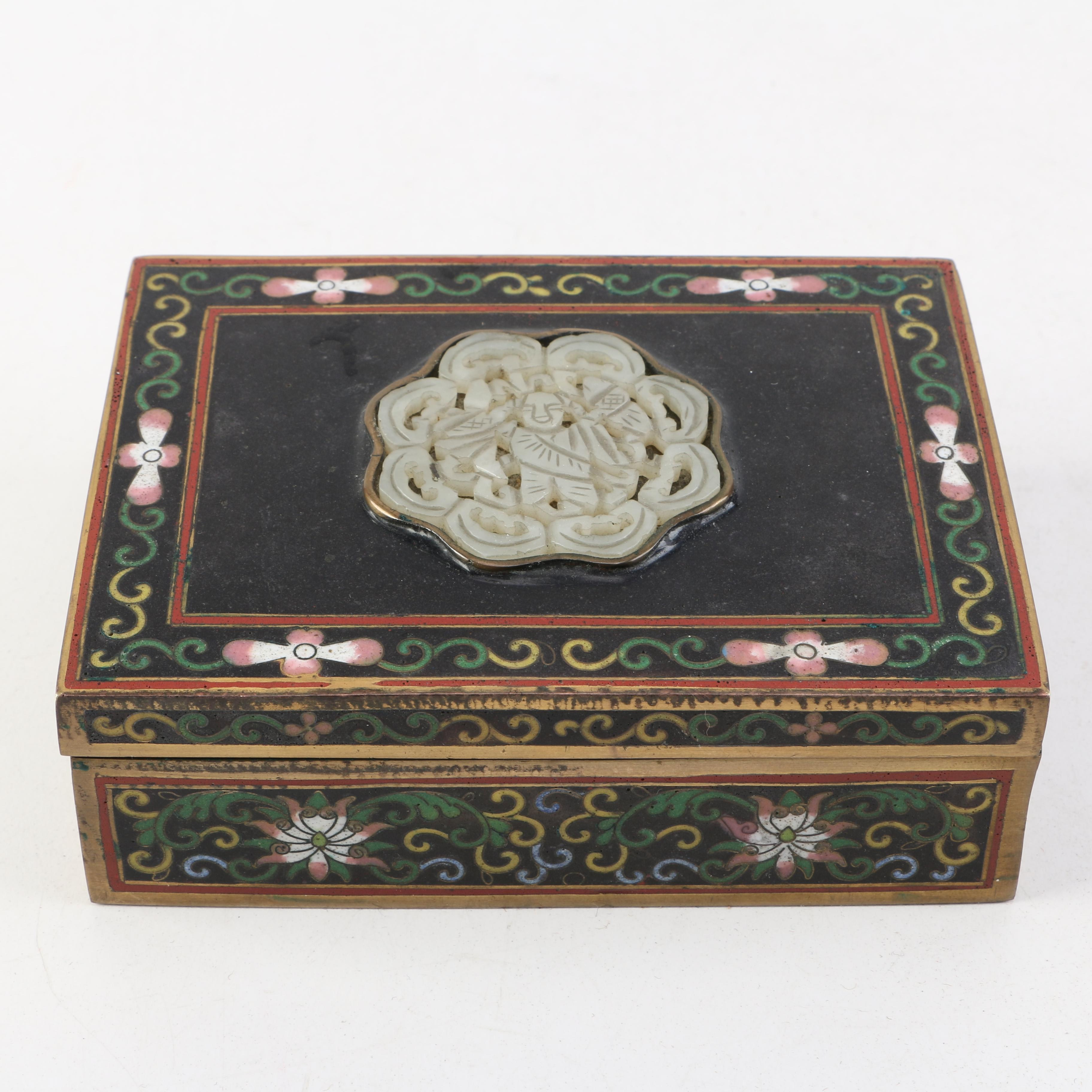 Vintage Chinese Cloisonné Trinket Box With Bowenite Medallion
