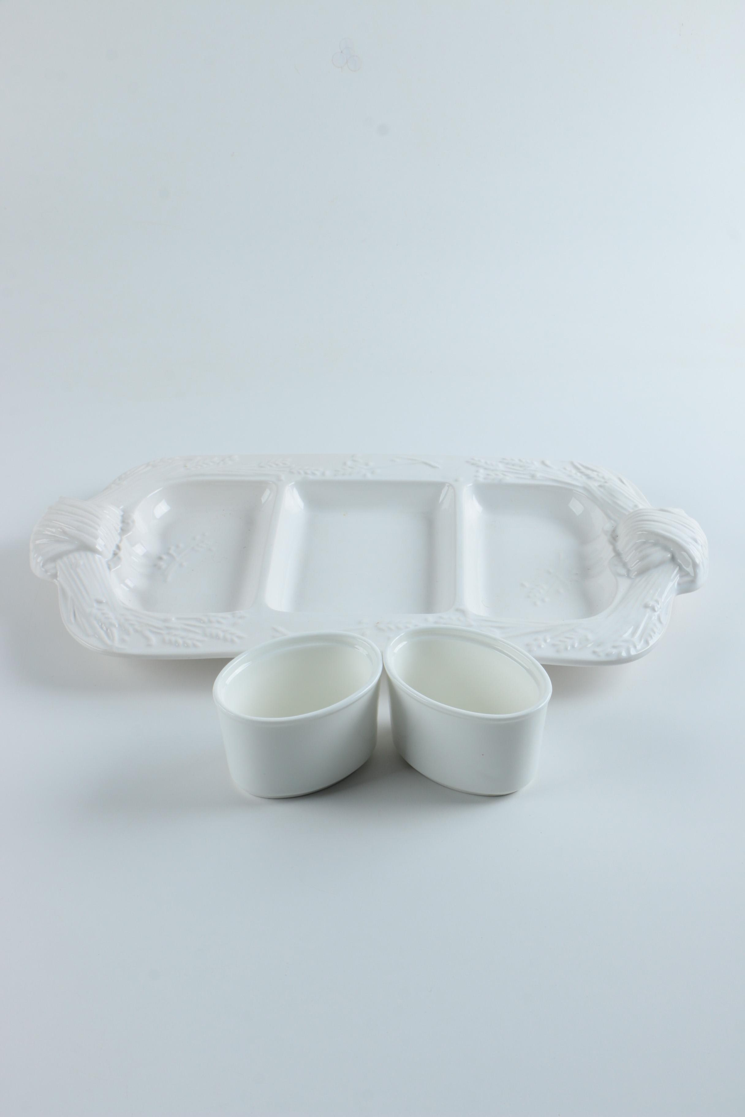 White Serving Dishes Including Loucarte Portugal