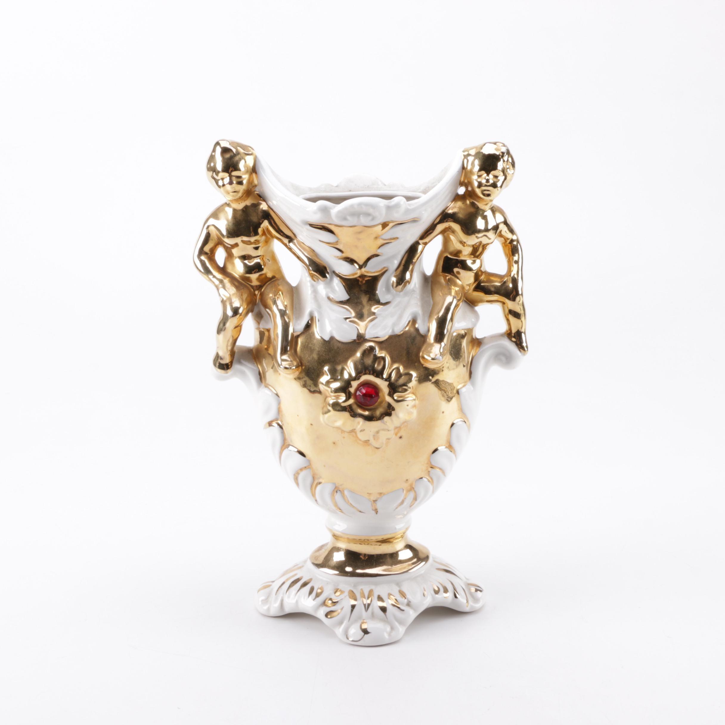 Gilded Italian Figural Porcelain Vase