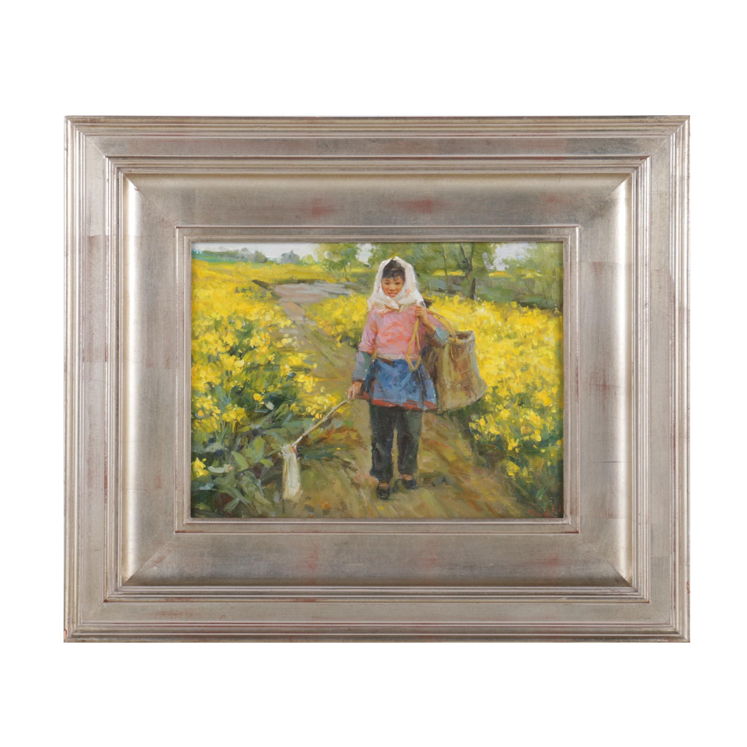 Oil Painting of Farmer in Field of Yellow Flowers