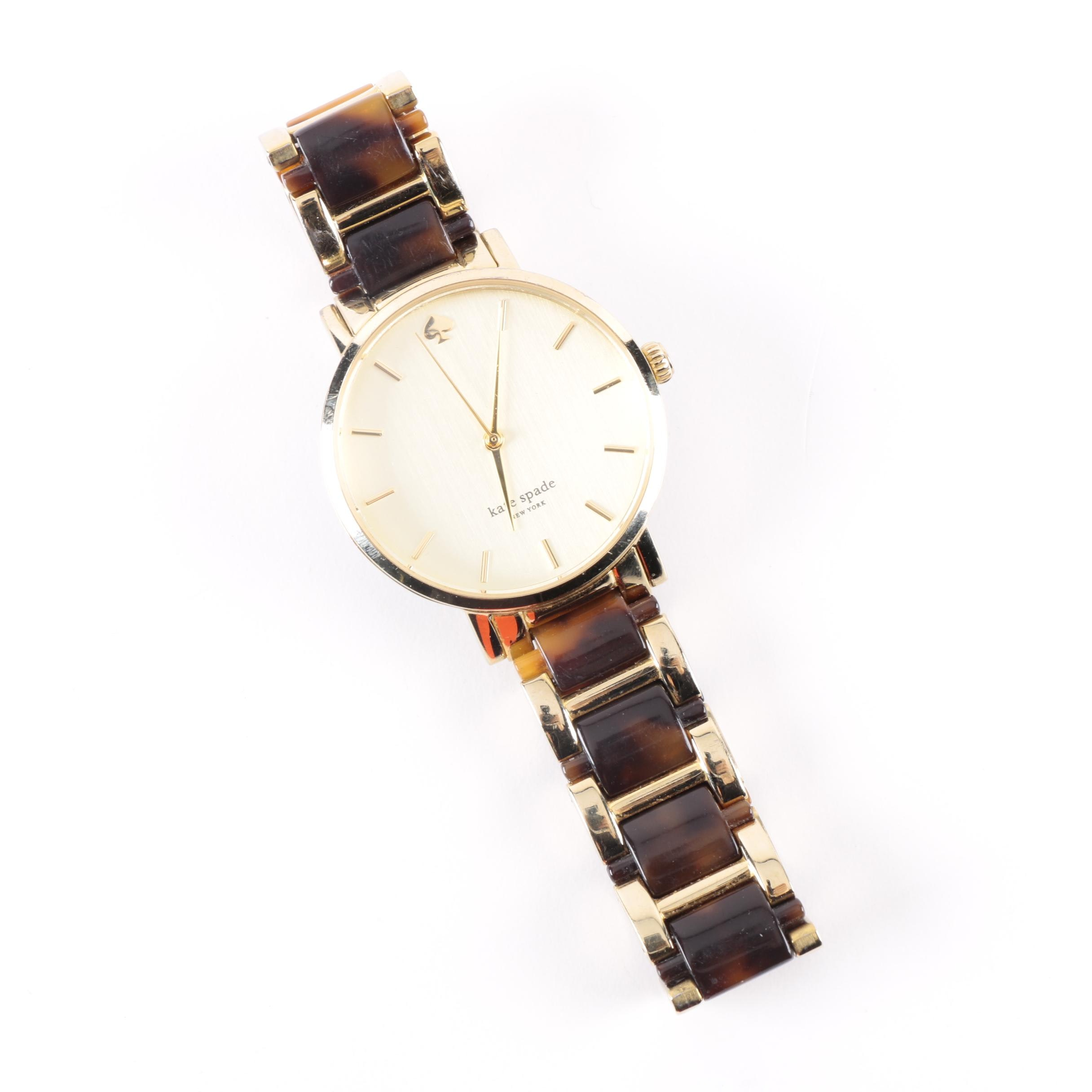 "Kate Spade ""Live Colorfully"" Gold Tone Wristwatch"