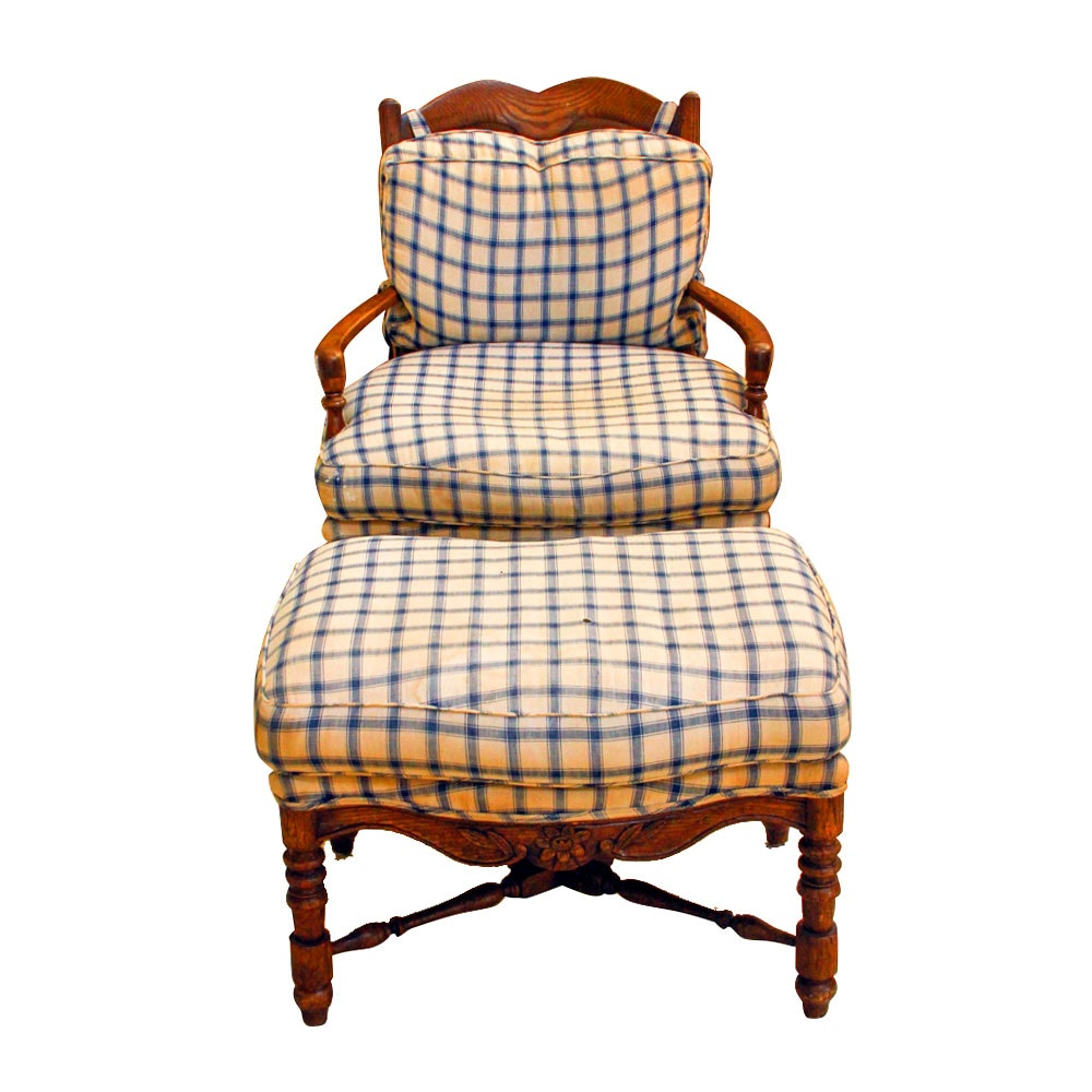French Provincial Style Oak Arm Chair and Ottoman