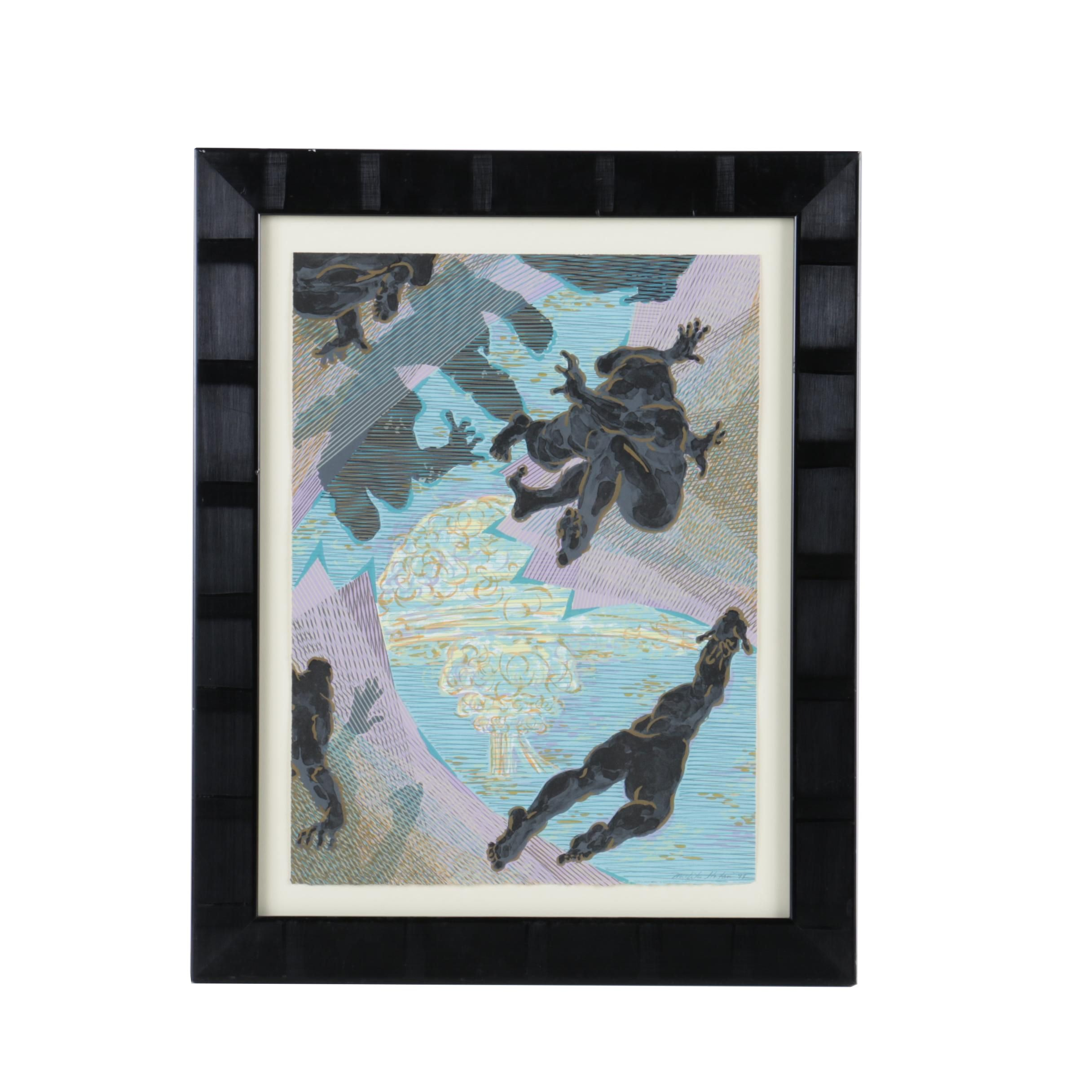 """Michiko Itatani Limited Edition Lithograph """"Untitled"""" from """"Childhood's End"""""""