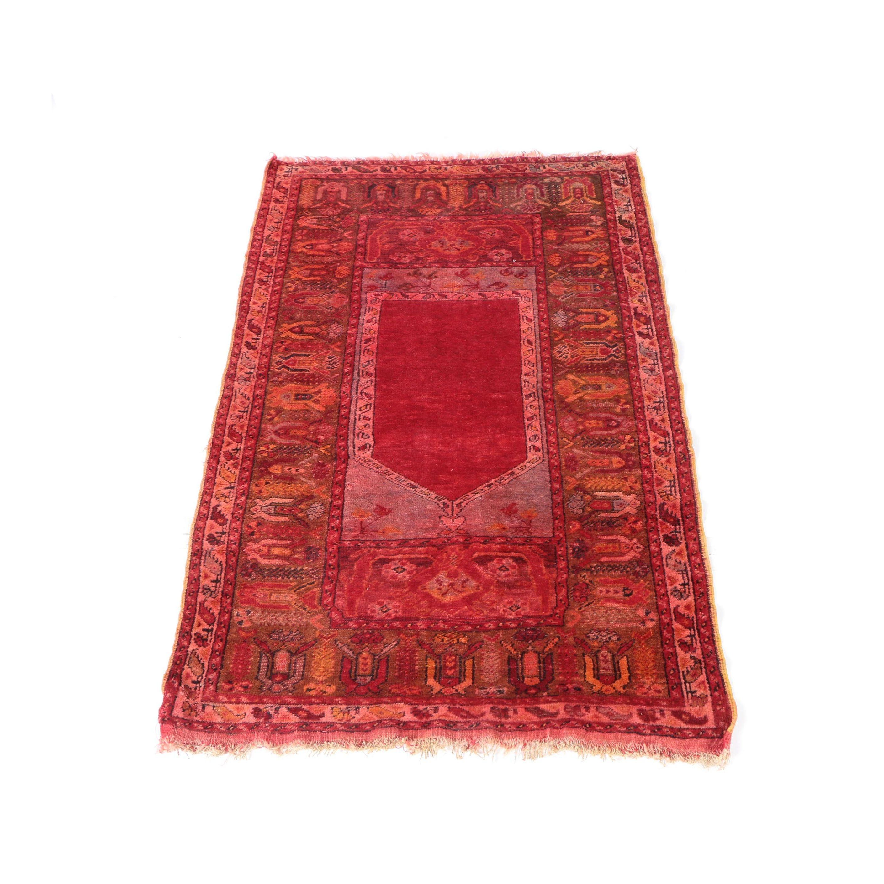 Hand-Knotted Turkish Kula Prayer Rug
