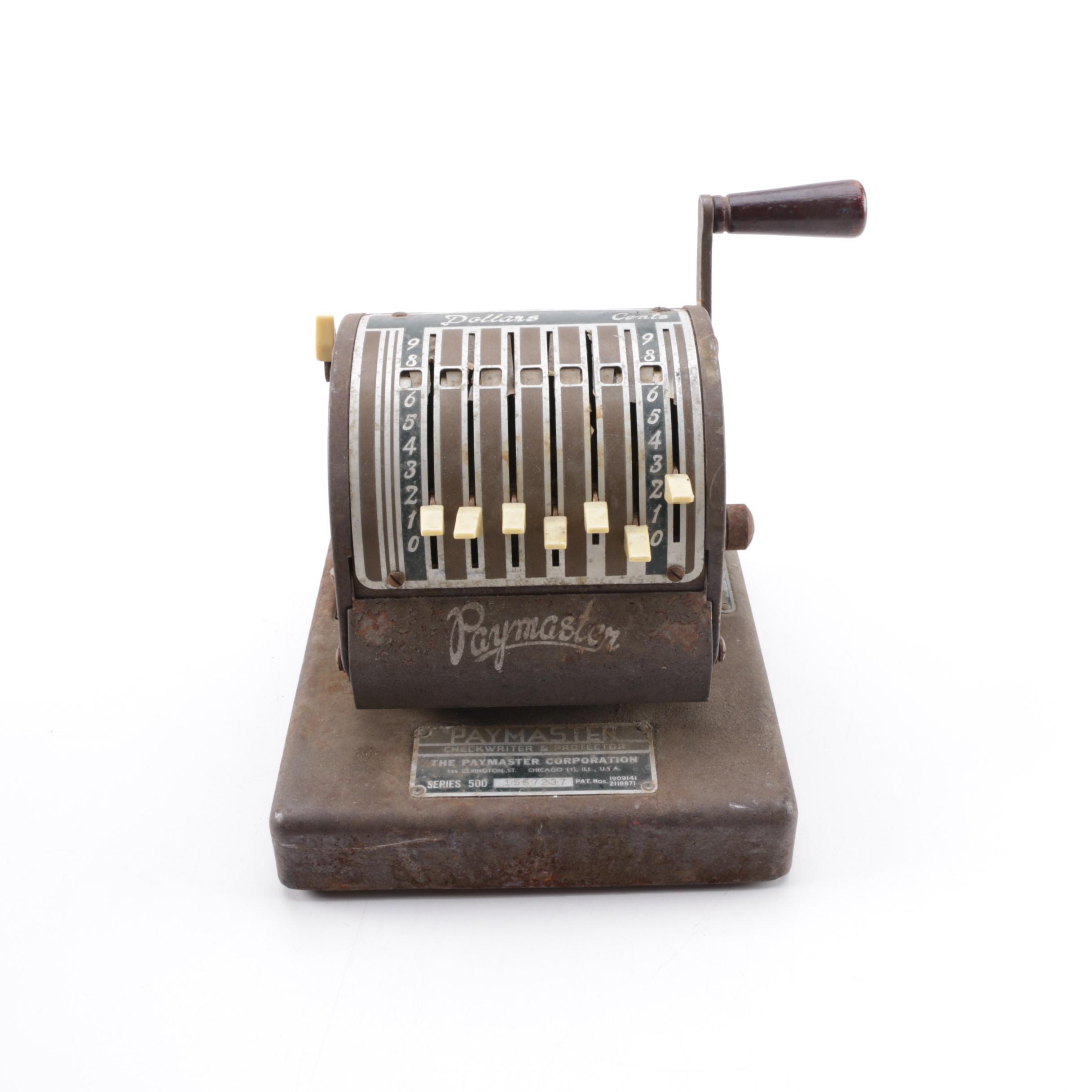 Vintage Paymaster Series 500 Checkwriter & Protector