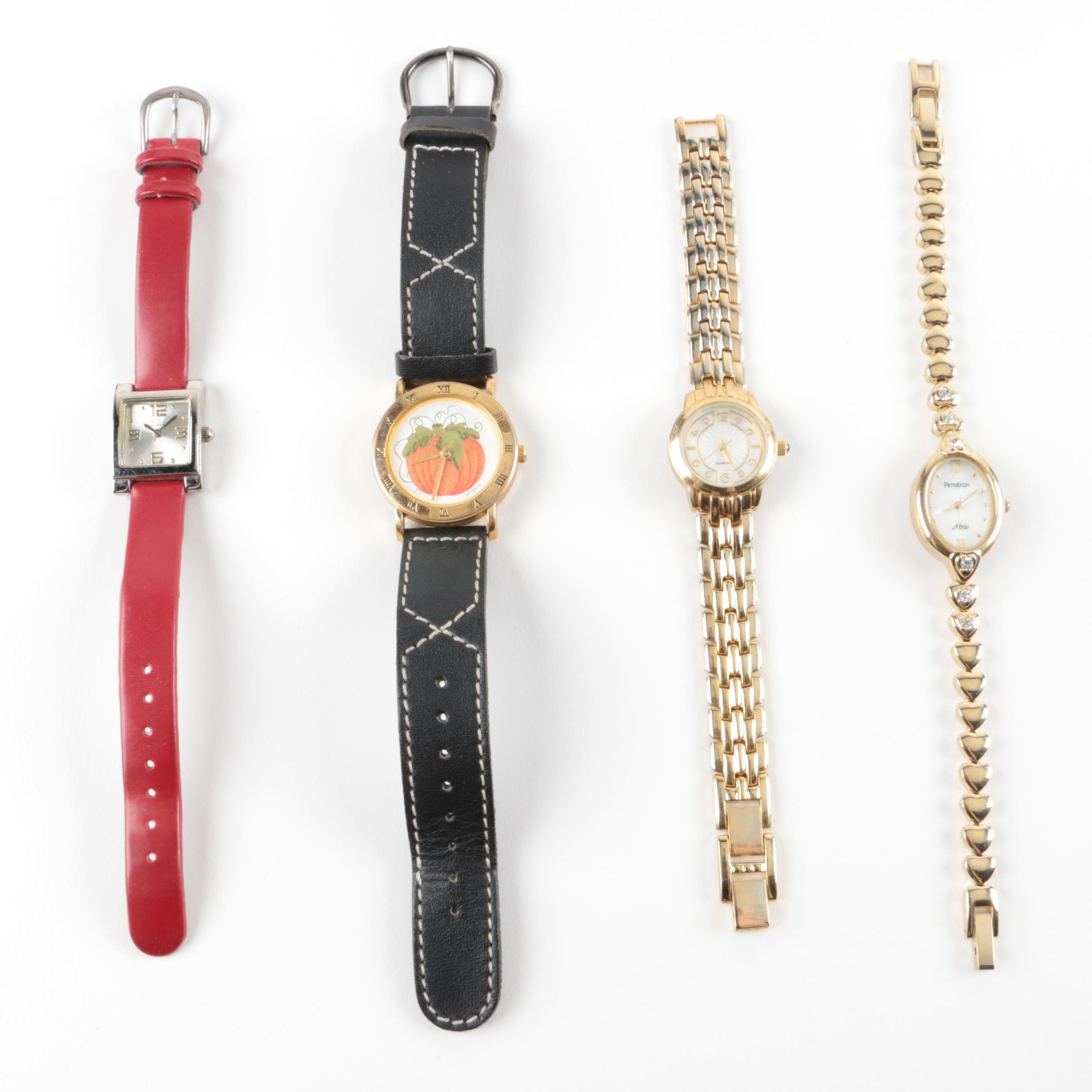 Grouping of Costume Watches with Accents Including Diamonds