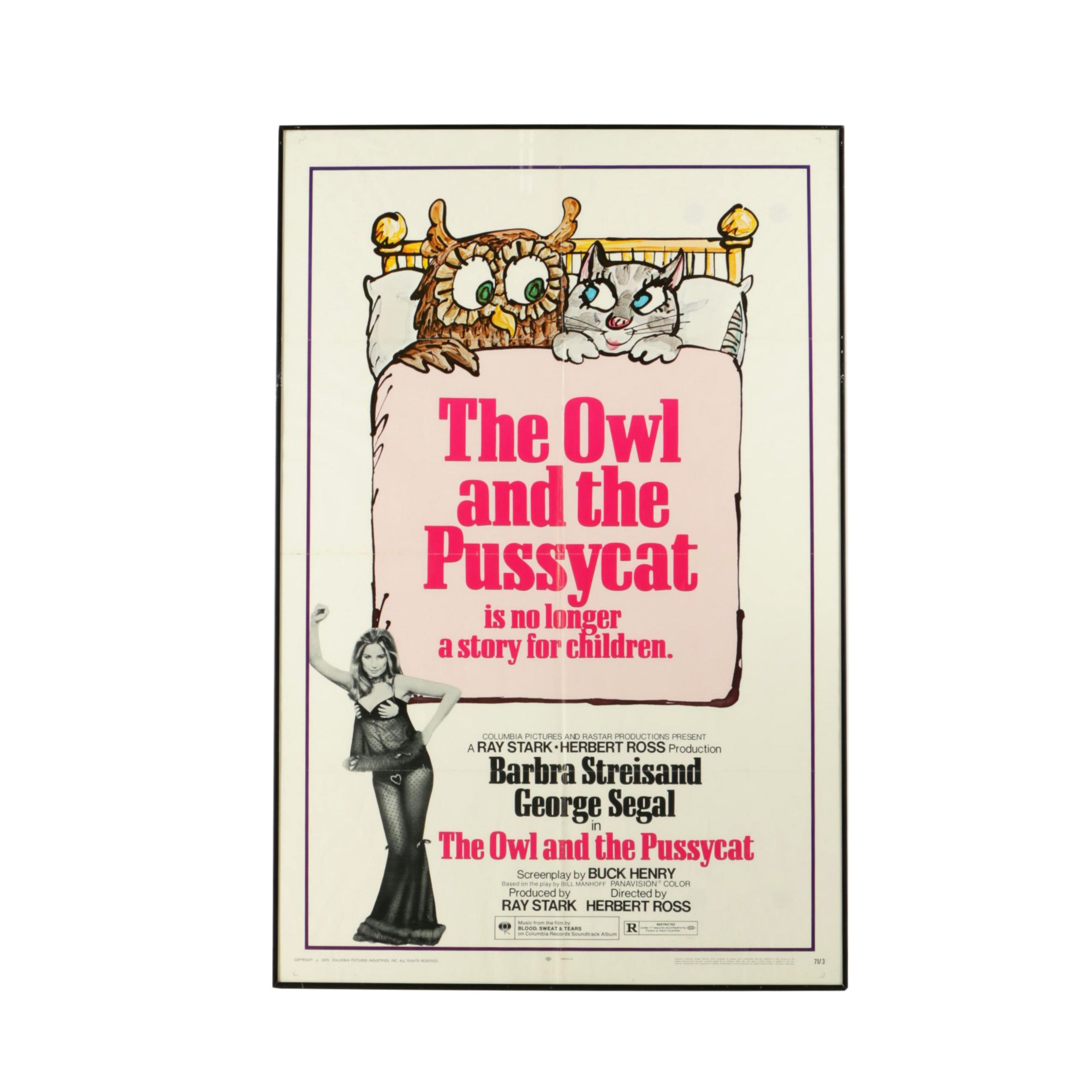 """1970 Movie Poster for """"The Owl and the Pussycat"""" Starring Barbra Streisand"""