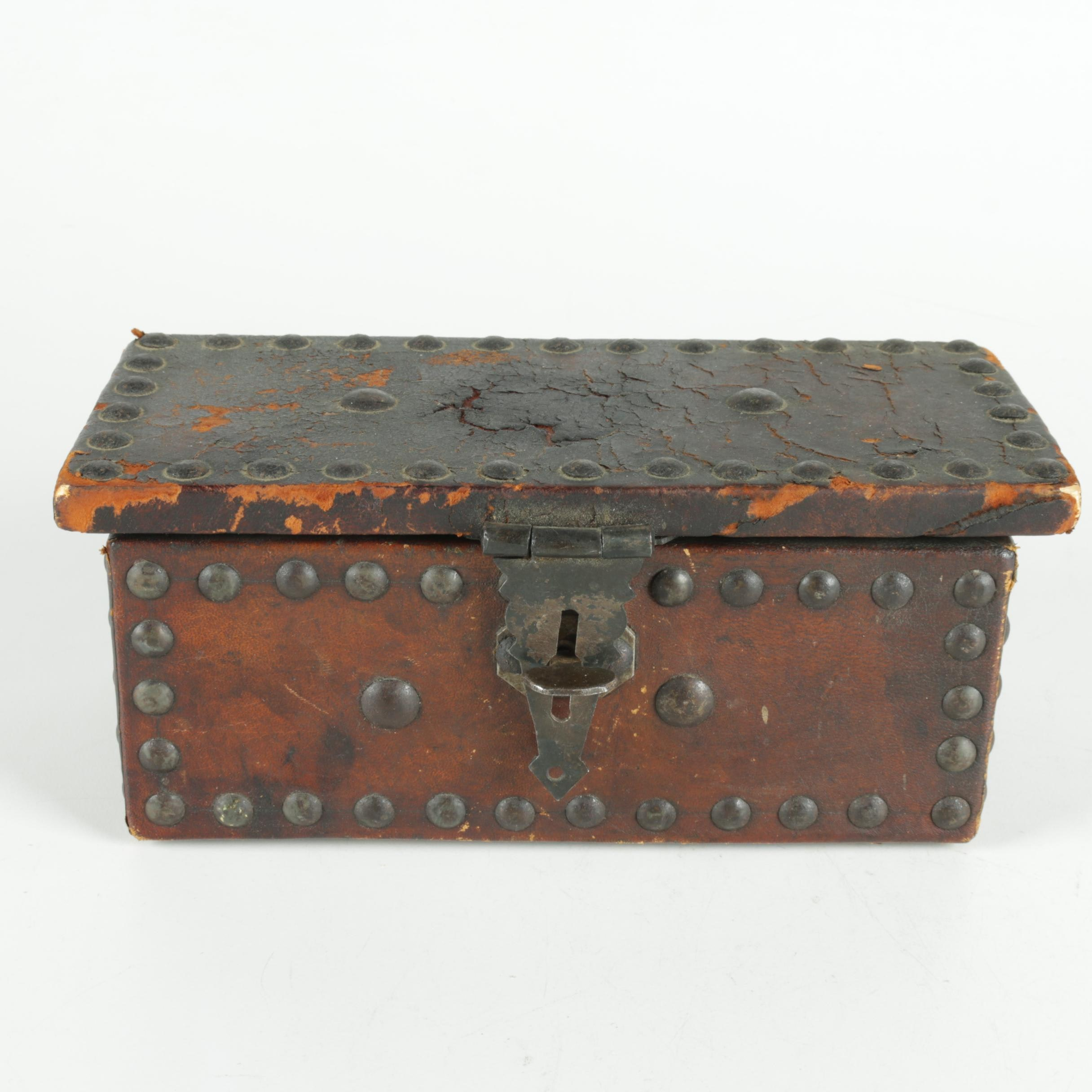 Antique Leather and Wood Tabletop Chest