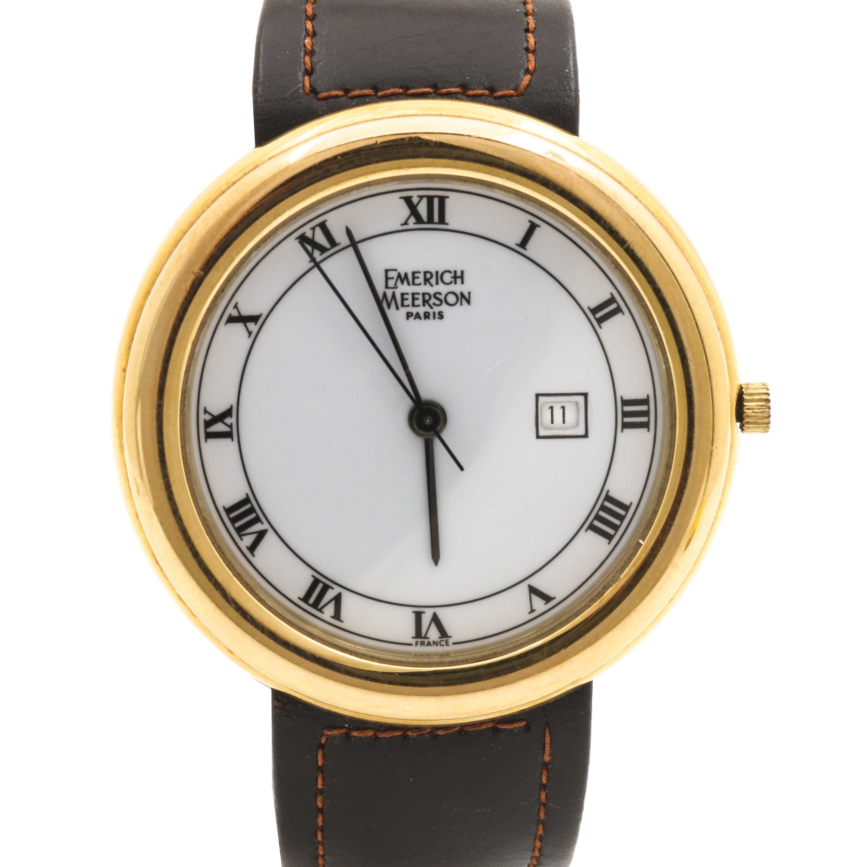 Emerich Meerson Yellow Gold Plate Stainless Steel Wristwatch