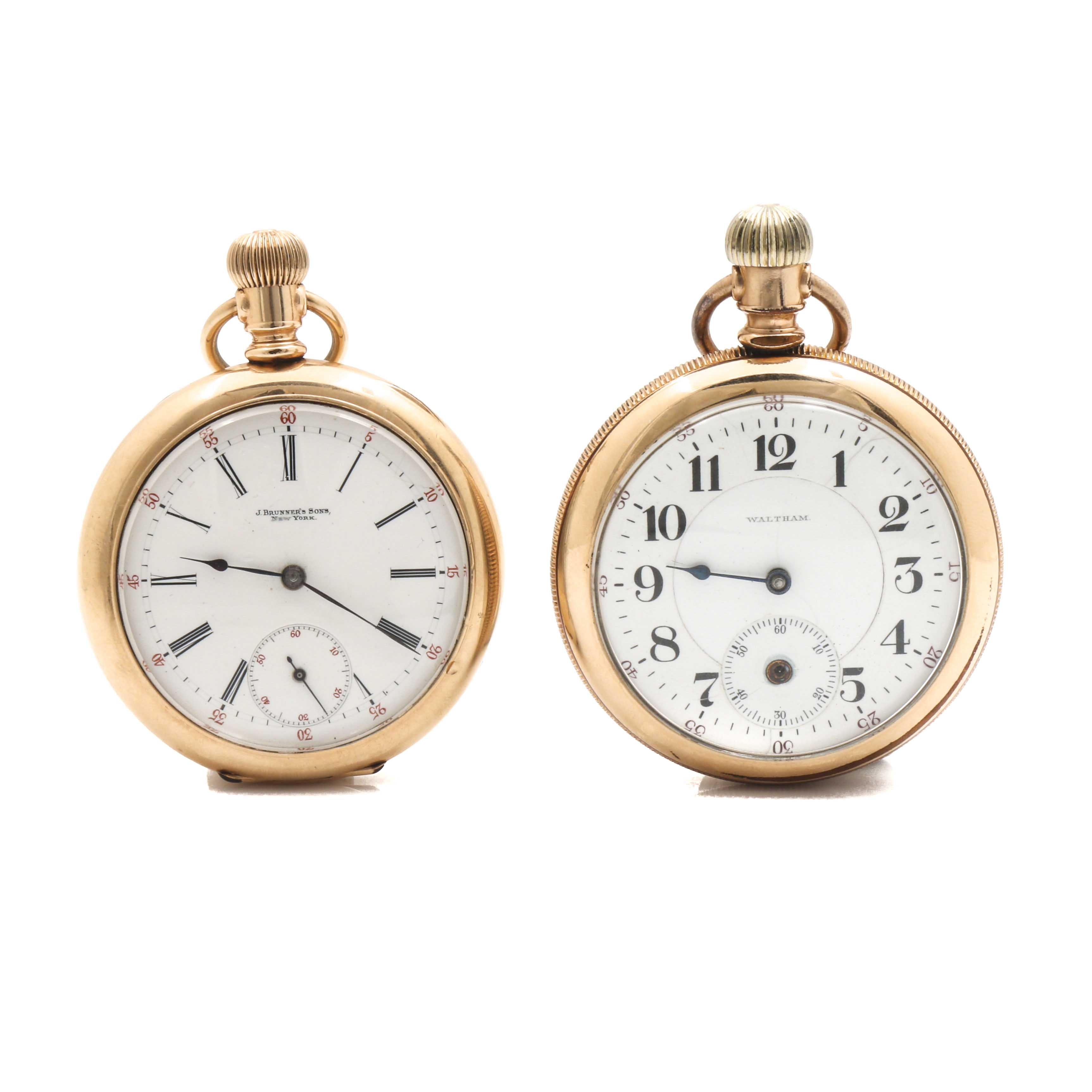 Waltham and J Brunner's Sons Yellow Gold FIlled Open Face Pocket Watches