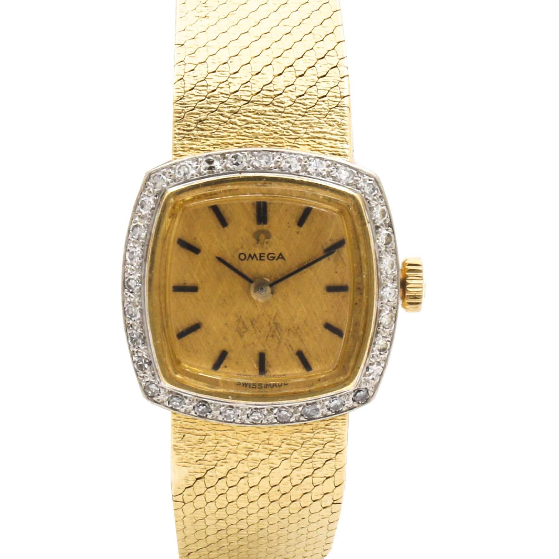 Omega 18K Yellow Gold Diamond Wristwatch