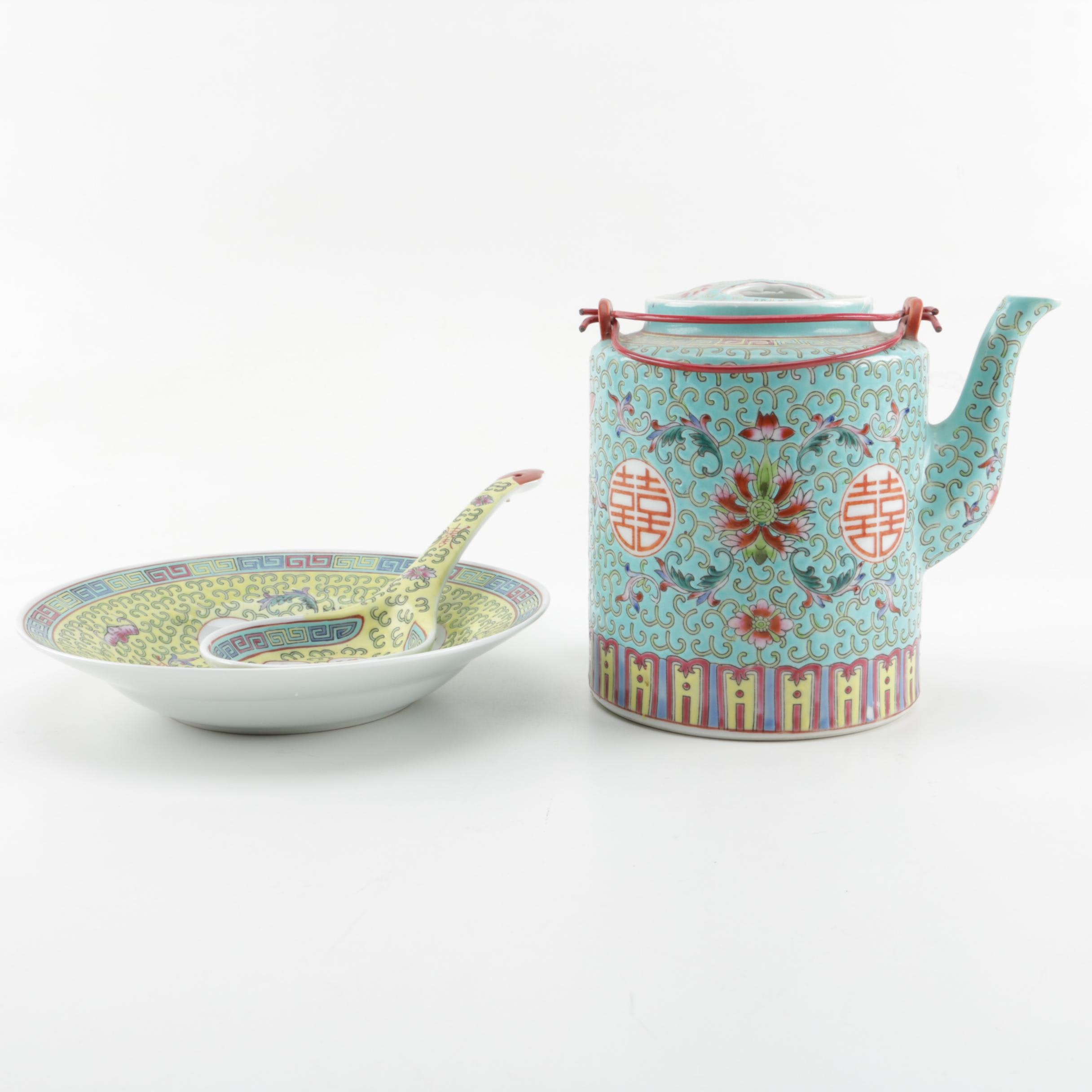 Chinese Porcelain Famille Verte Tea Kettle with Bowl and Soup Spoon