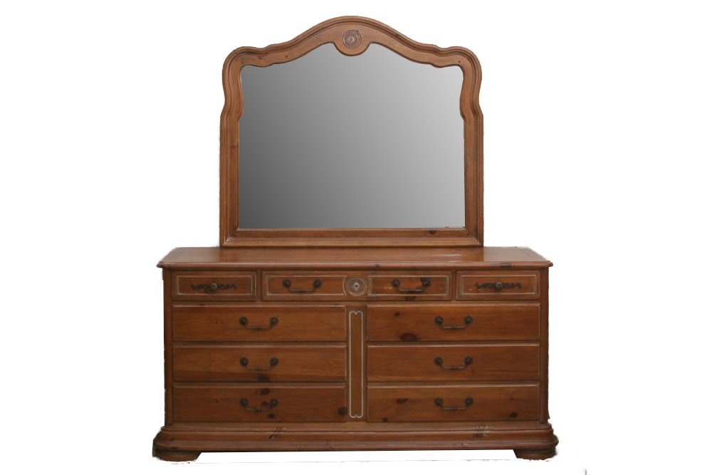 Vintage Pine Dresser With Mirror by National  Mt. Airy