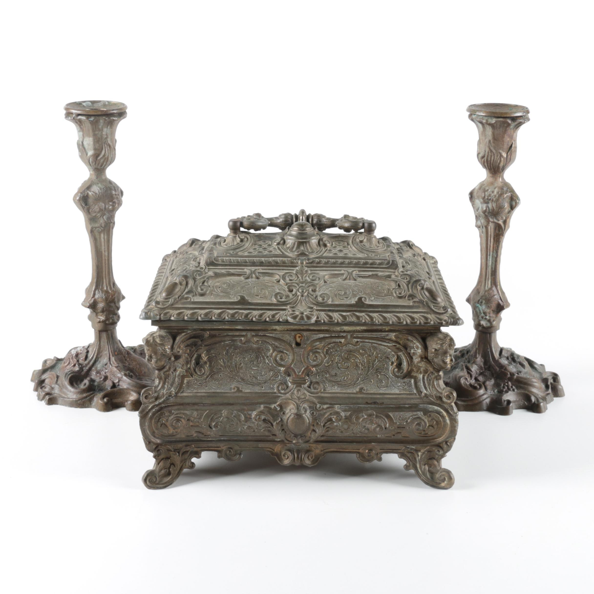 Ornate Renaissance Style Brass Jewelry Box and Candle Holders