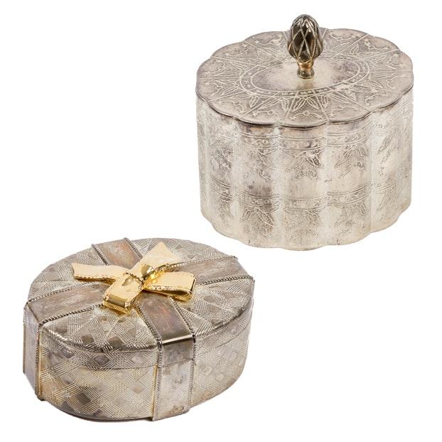 Vintage Silver Plate Trinket Boxes