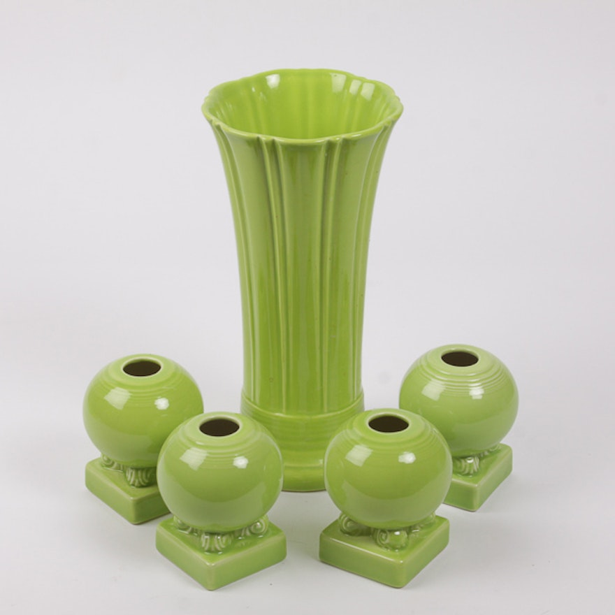 Chartreuse Fiestaware Vase And Candle Holders Ebth
