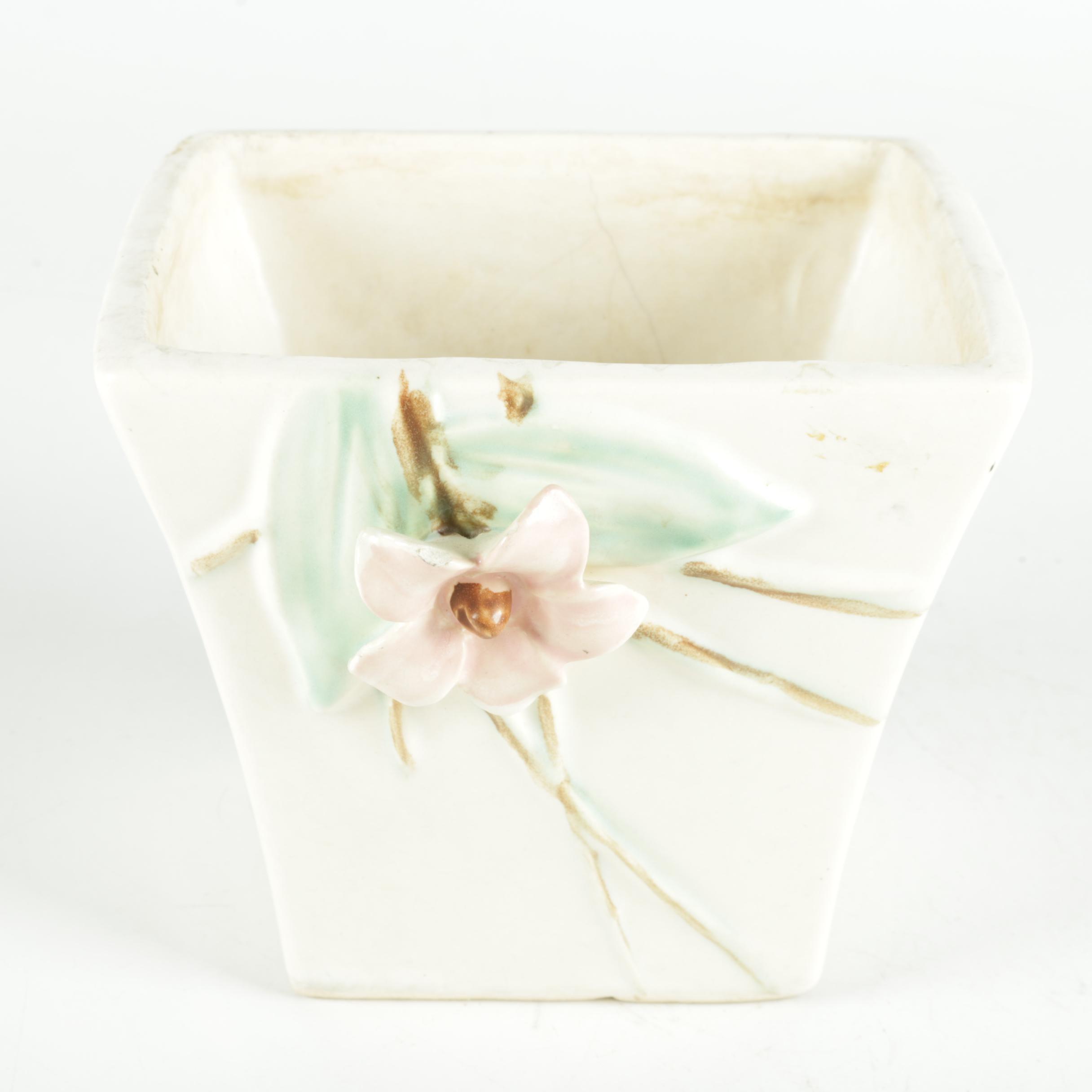 Floral Themed McCoy Pottery Ceramic Vase