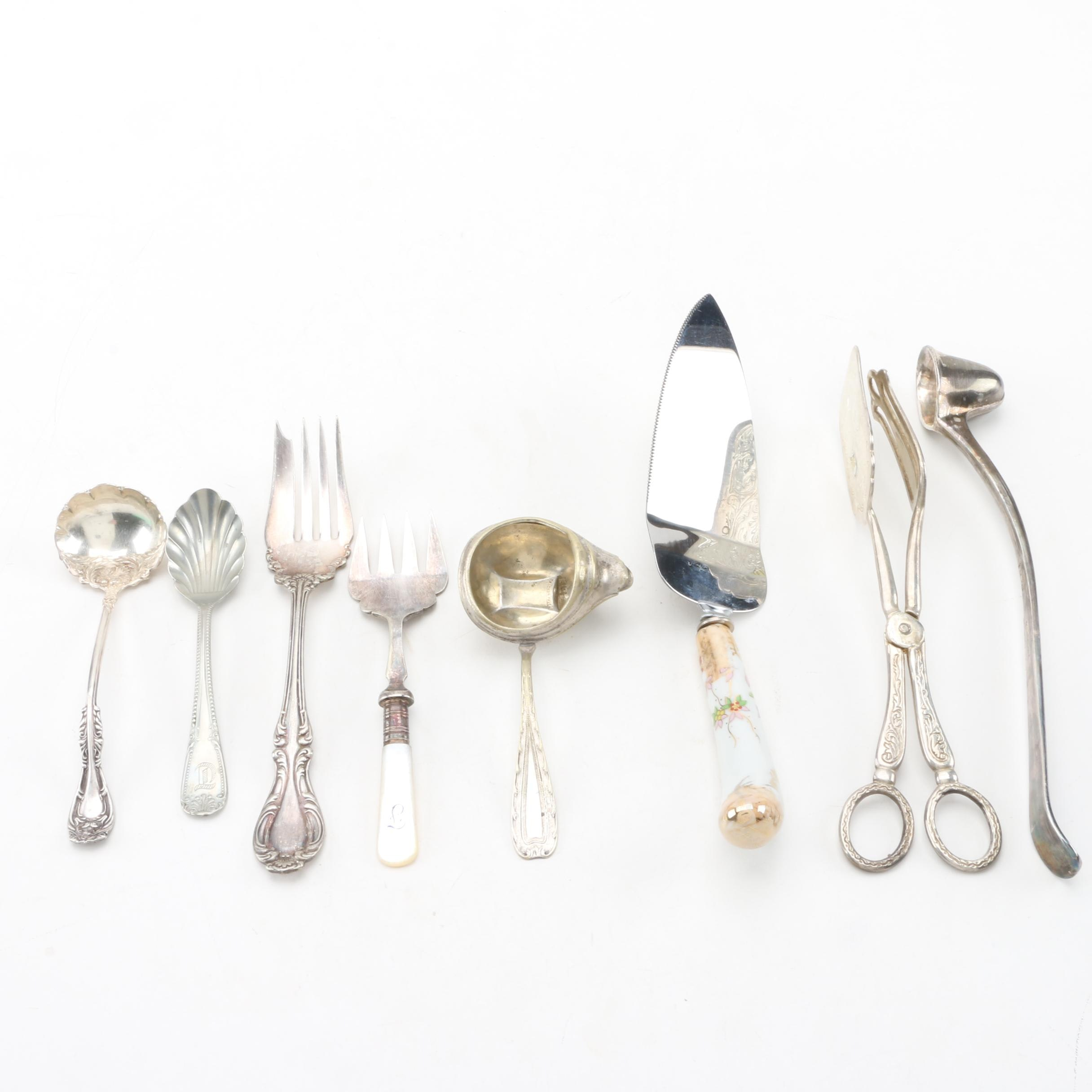 Sheffield Silver Co. Snuffer, Wallace Pastry Fork and More Silver Plate Flatware