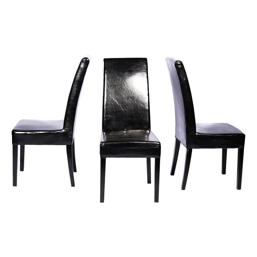 Three Black Parsons Style Chairs