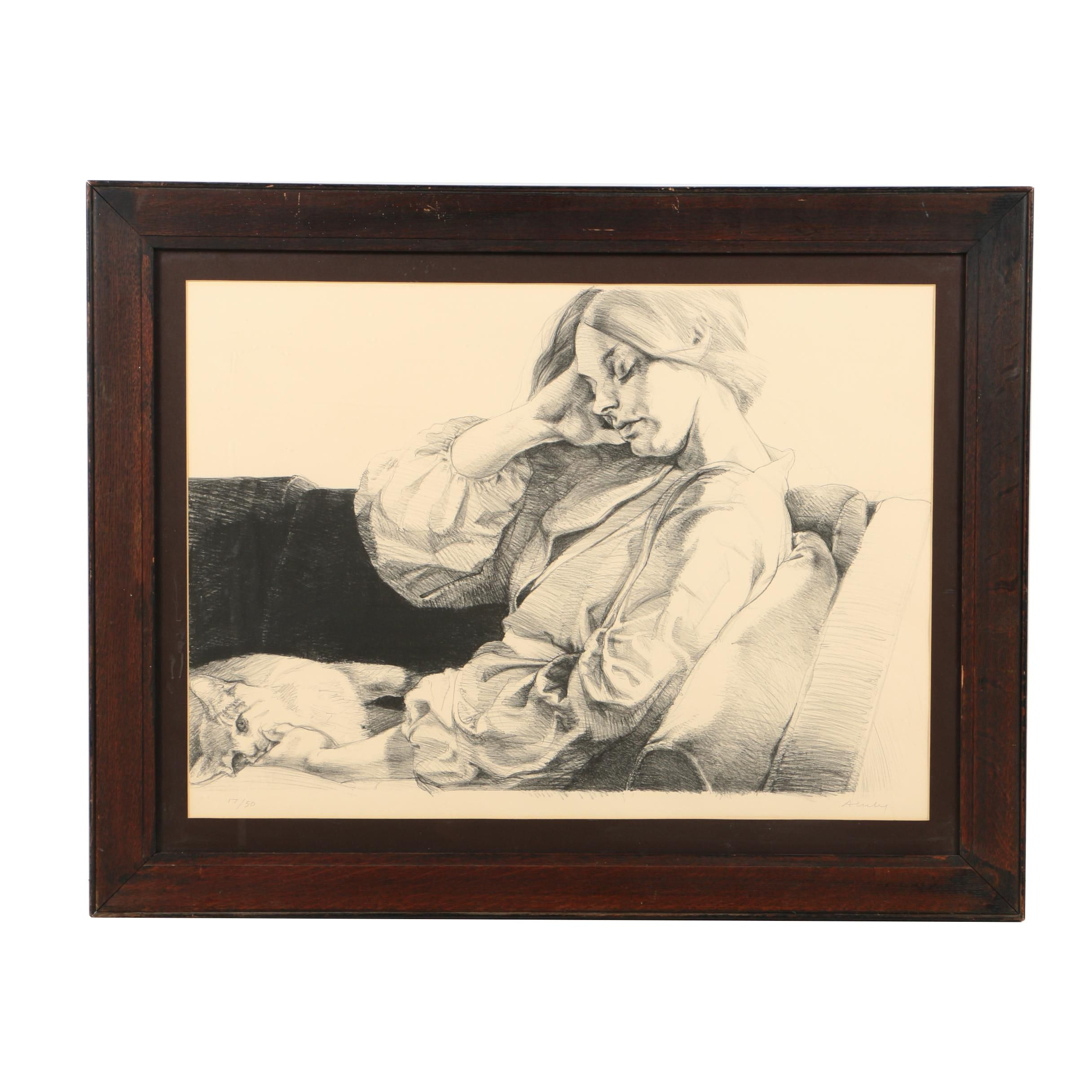 """Sigmund Abeles Limited Edition Lithograph """"Woman with Cat"""""""