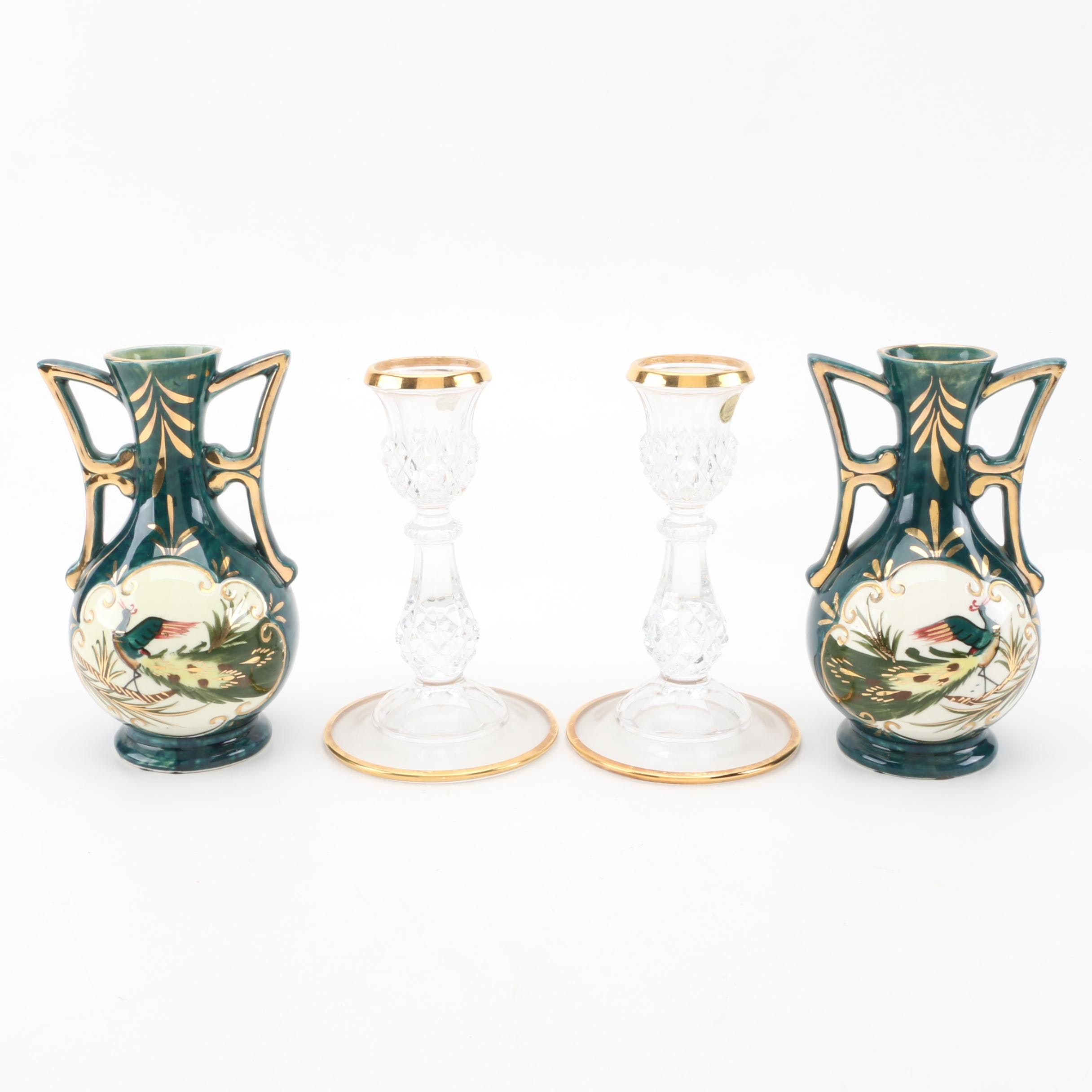 Japanese Hand Painted Ceramic Vases and Crystal Candlesticks