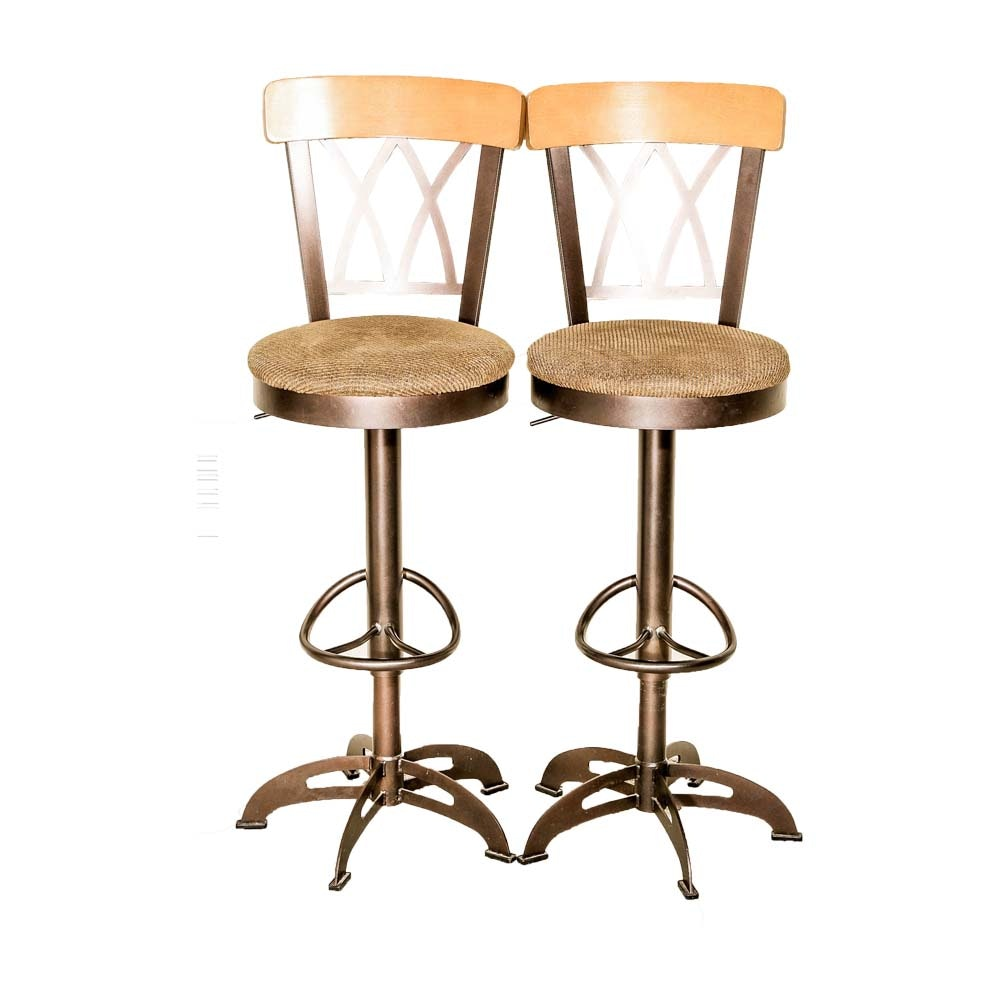 Pair of Contemporary Swivel Counter Stools