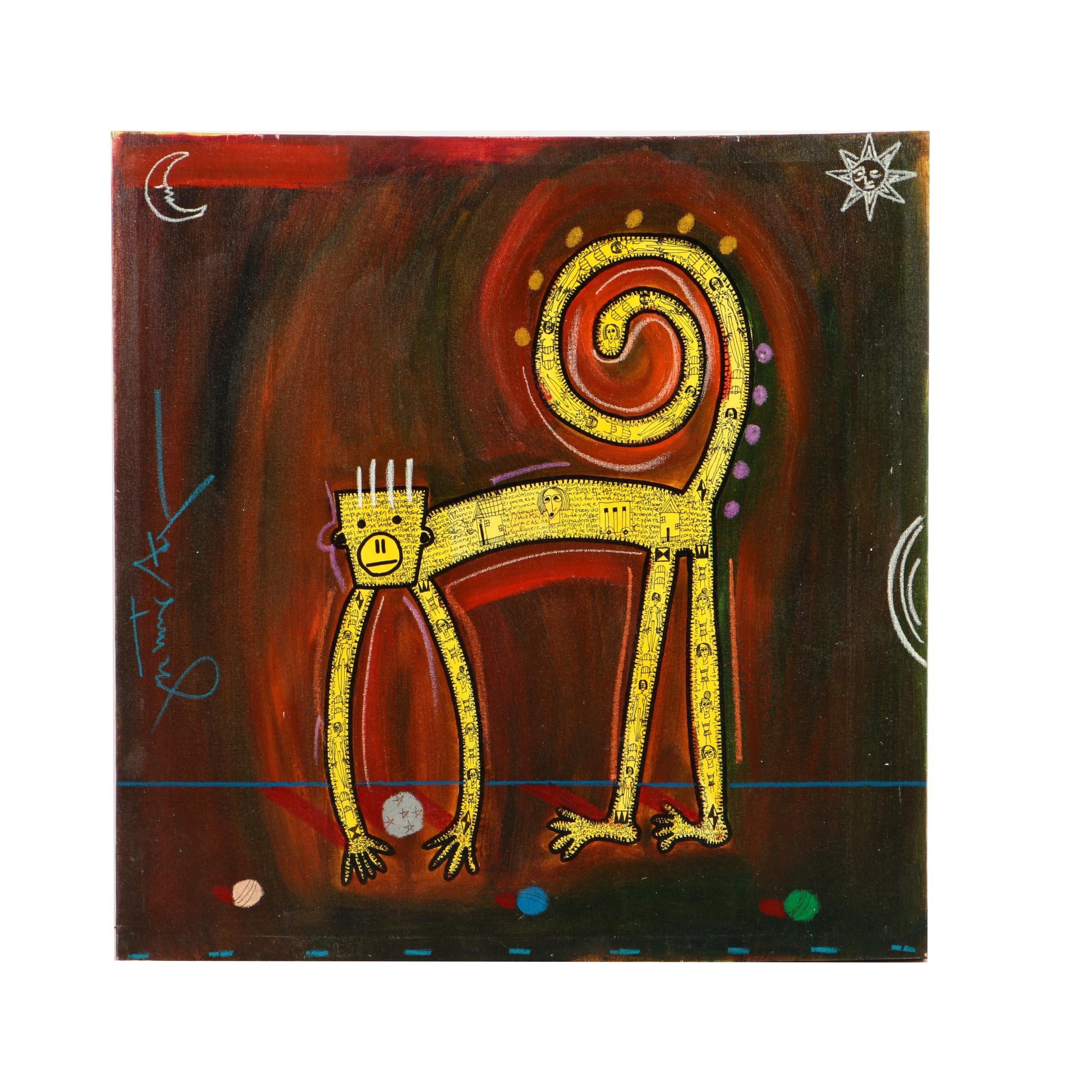 "Gustavo Araya 2003 Mixed Media Painting on Canvas ""Mono #2"""
