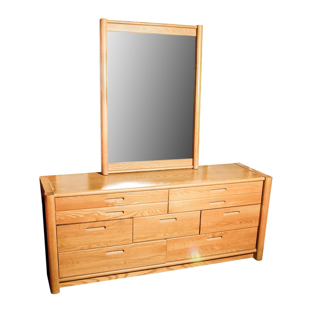 Oak Chest of Drawers with Mirror by Thomasville