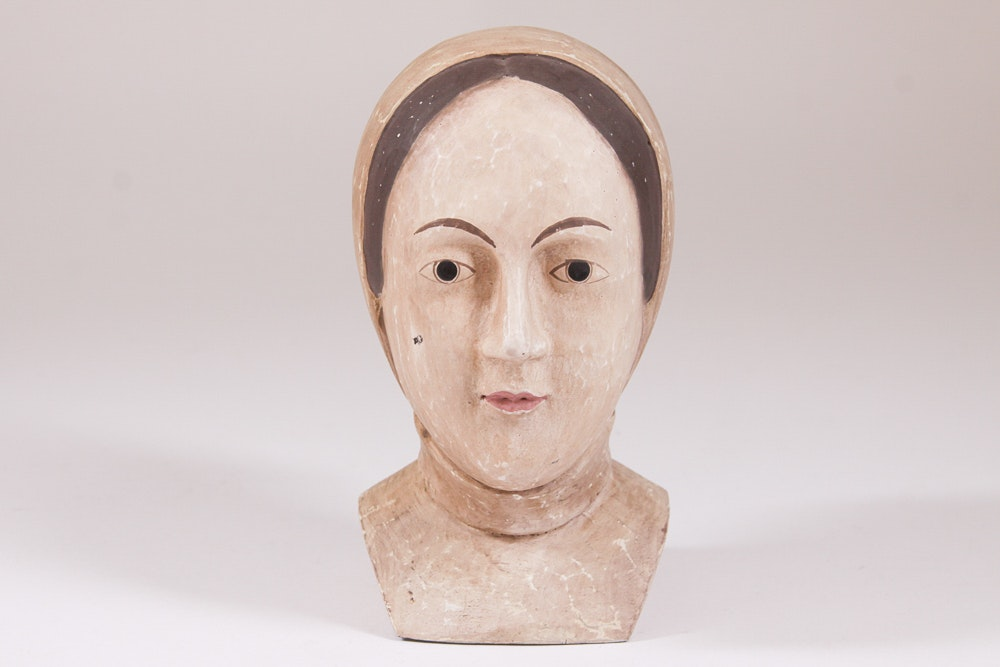 Hand Painted Plaster Bust