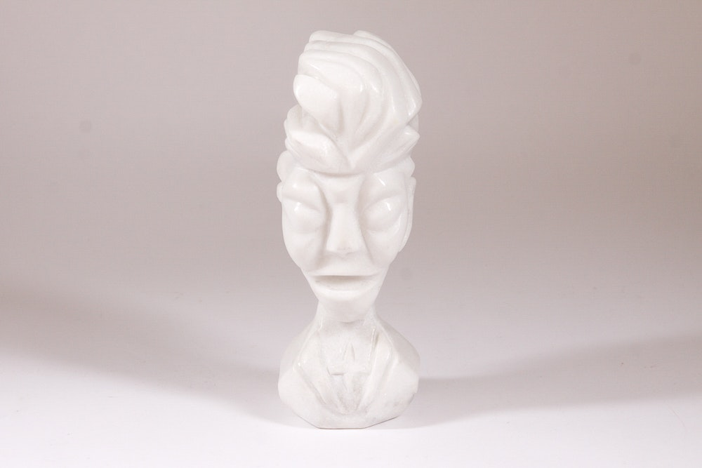 """Steve Whitcomb Carving """"Rich"""" in White Stone"""