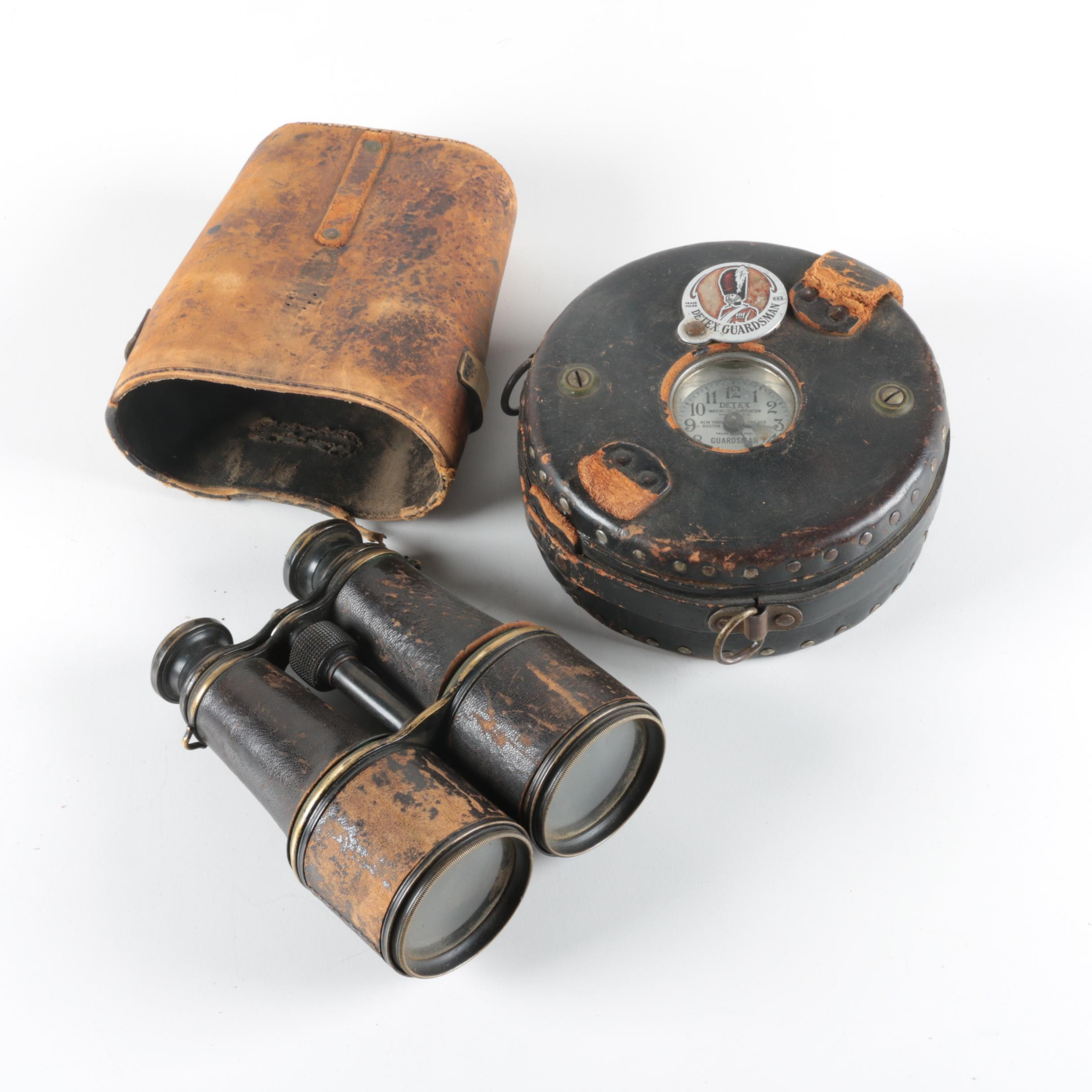 Detex Guardsman Watchclock and Binoculars