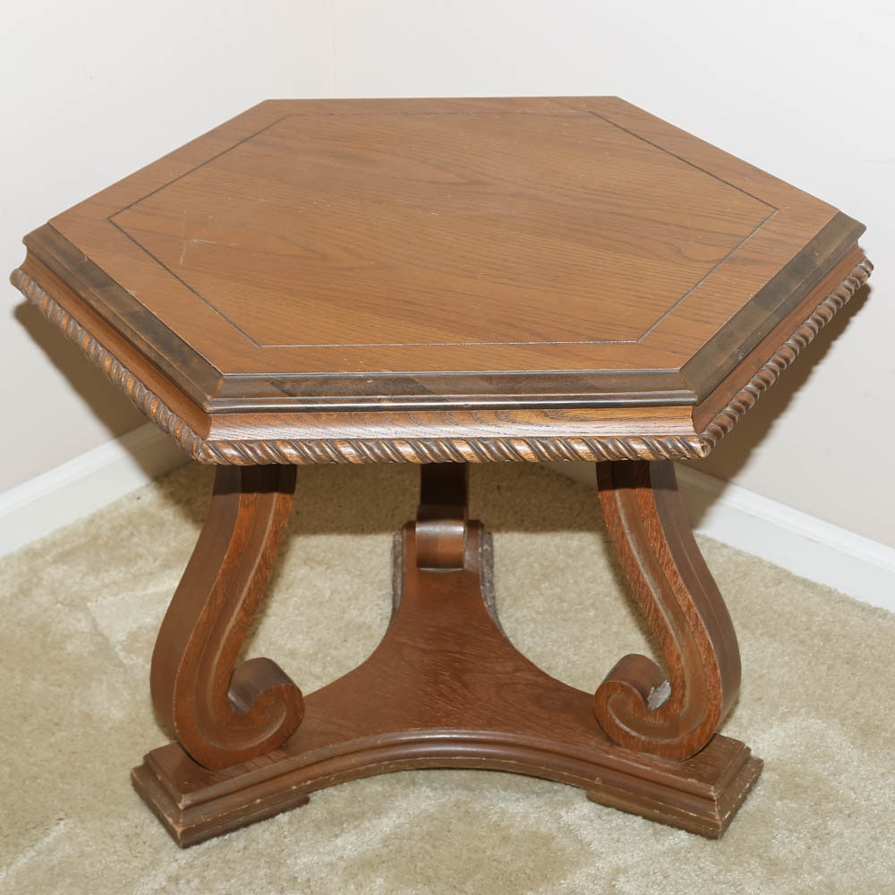 Hexagonal Pedestal Side Table