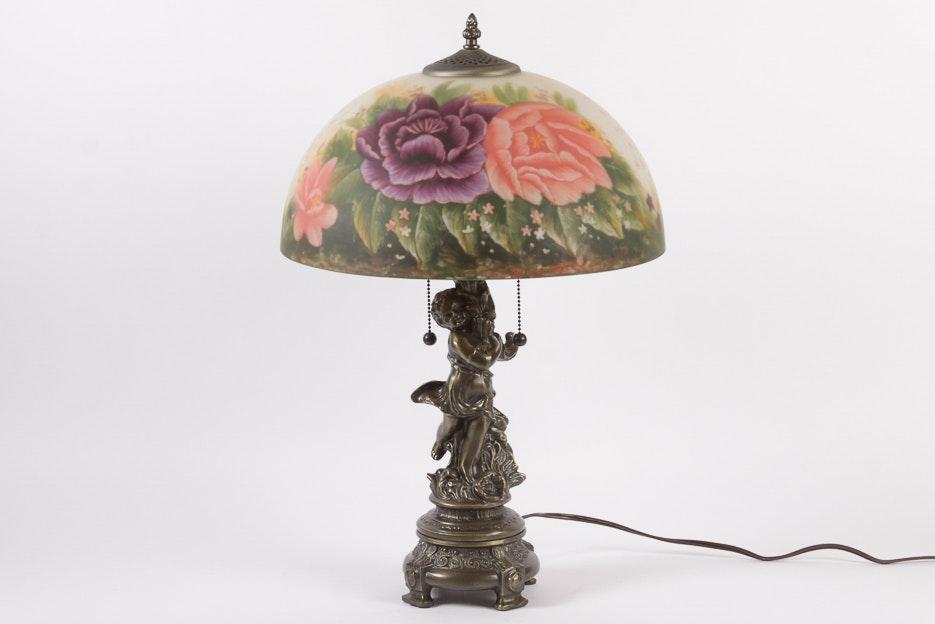 Vintage Hand Painted Cherub Table Lamp