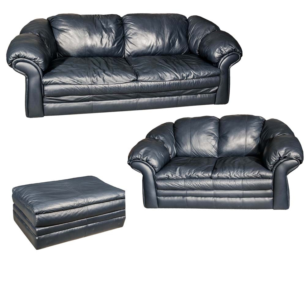 Blue Faux Leather Sofa, Loveseat, and Ottoman Set