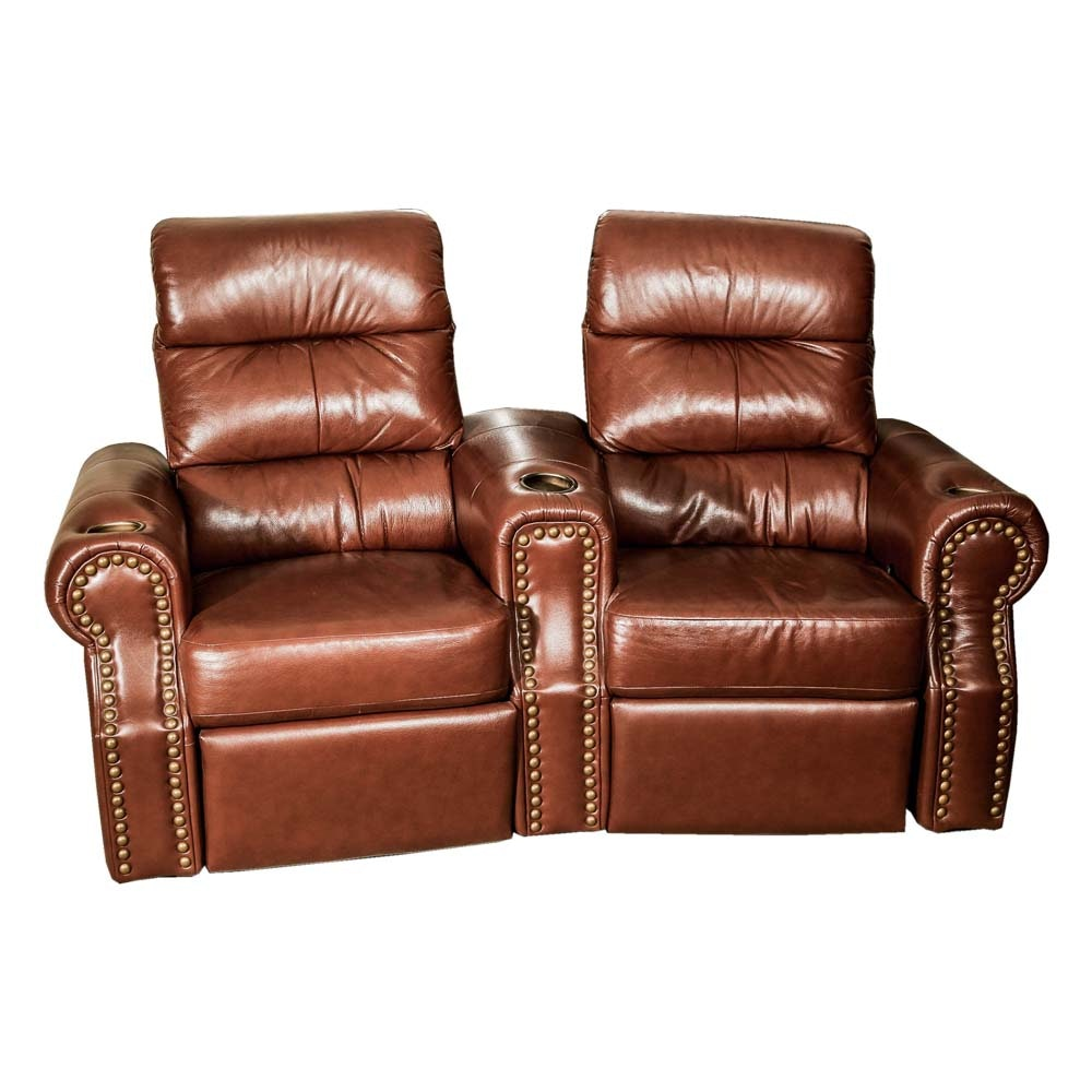 Brown Leather Double Recliner by Okin