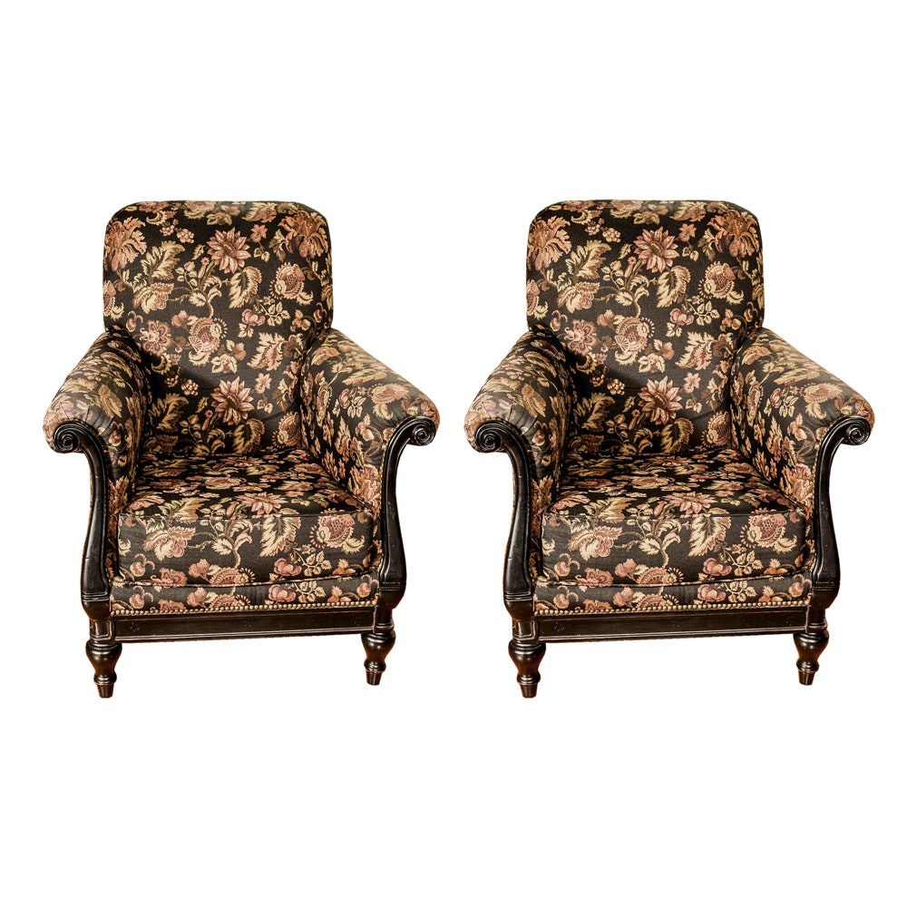 Pair of Floral Upholstered Roll Armchairs