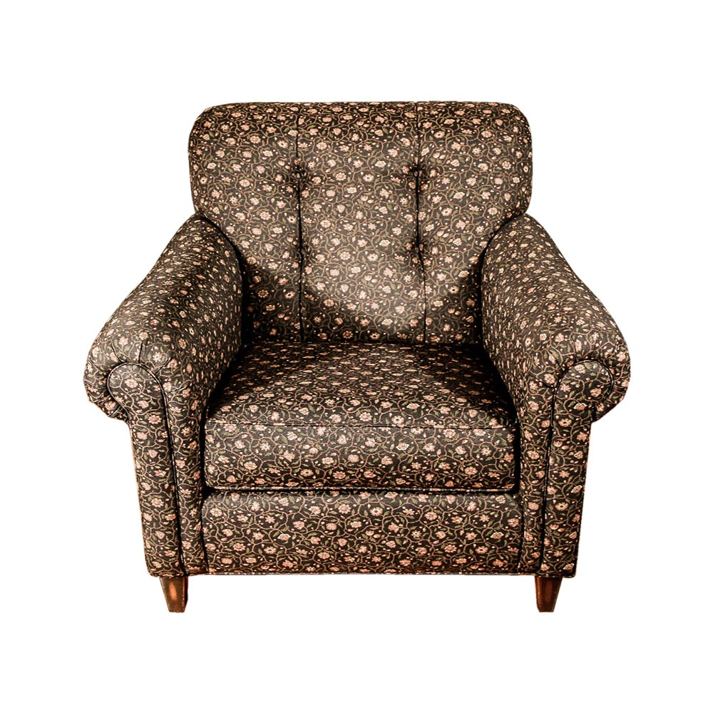 Floral Print Upholstered Lounge Chair by Thomasville