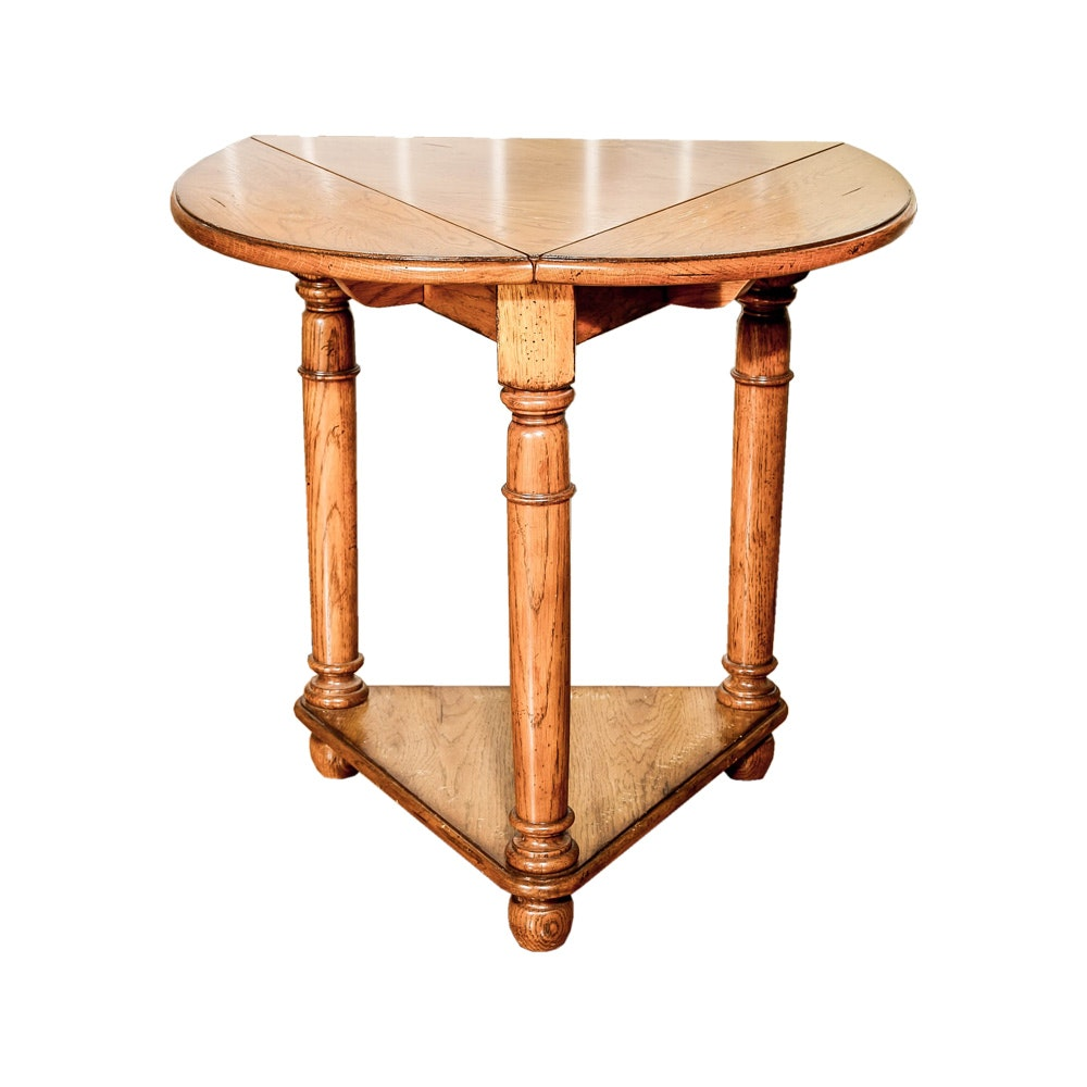 Triangular Shaped Drop Leaf Accent Table