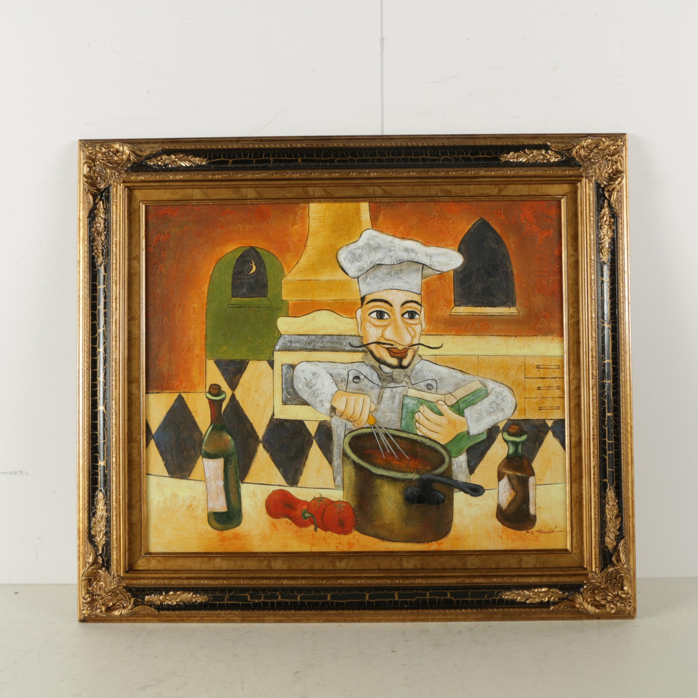M. Harold Oil Painting on Canvas of a Chef at Work in His Kitchen
