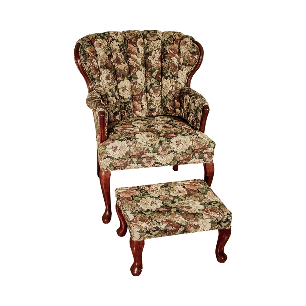 Wingback Chair and Ottoman with Floral Print by Best