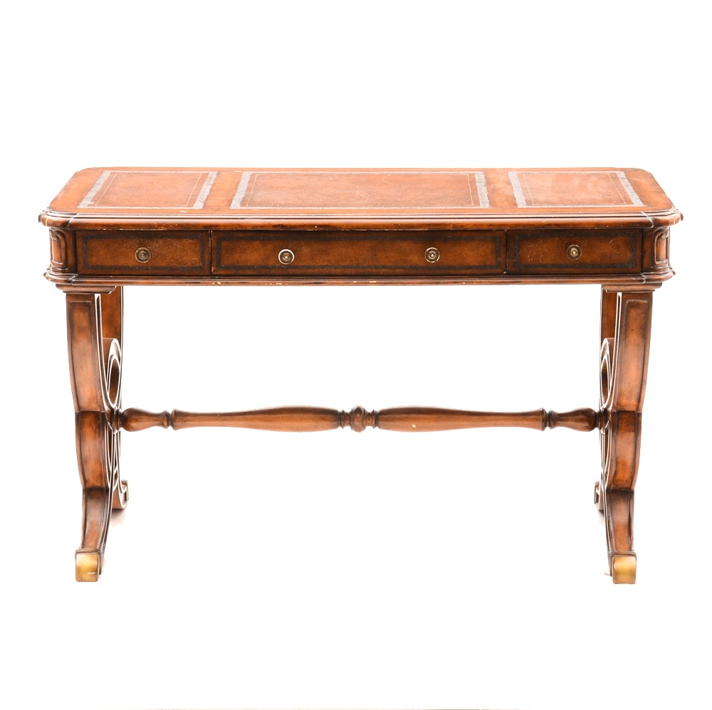 Empire Style Leather Top Accent Table