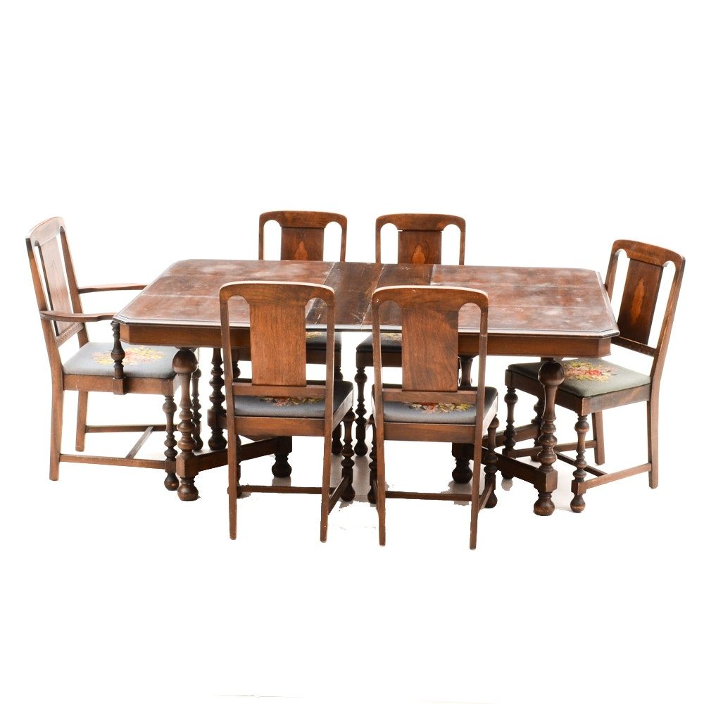 Antique Renaissance Revival Style  Dining Table and Chairs